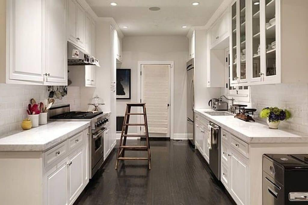 Enchanting Two Tone Black White Galley Kitchen Design