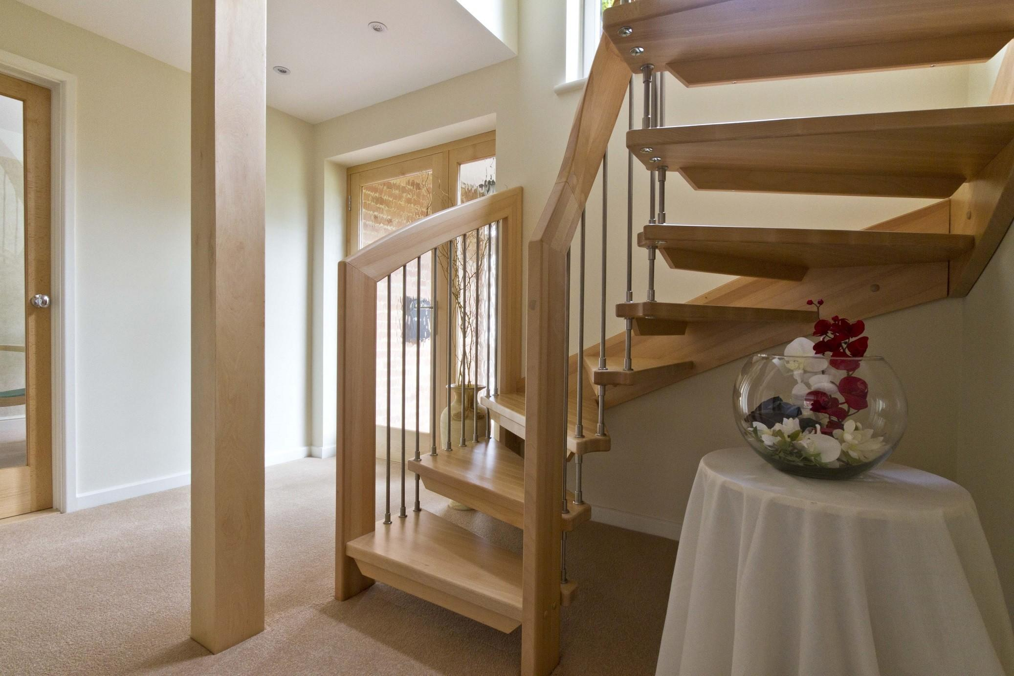 Enchanting Wooden Steps Open Staircase White Round