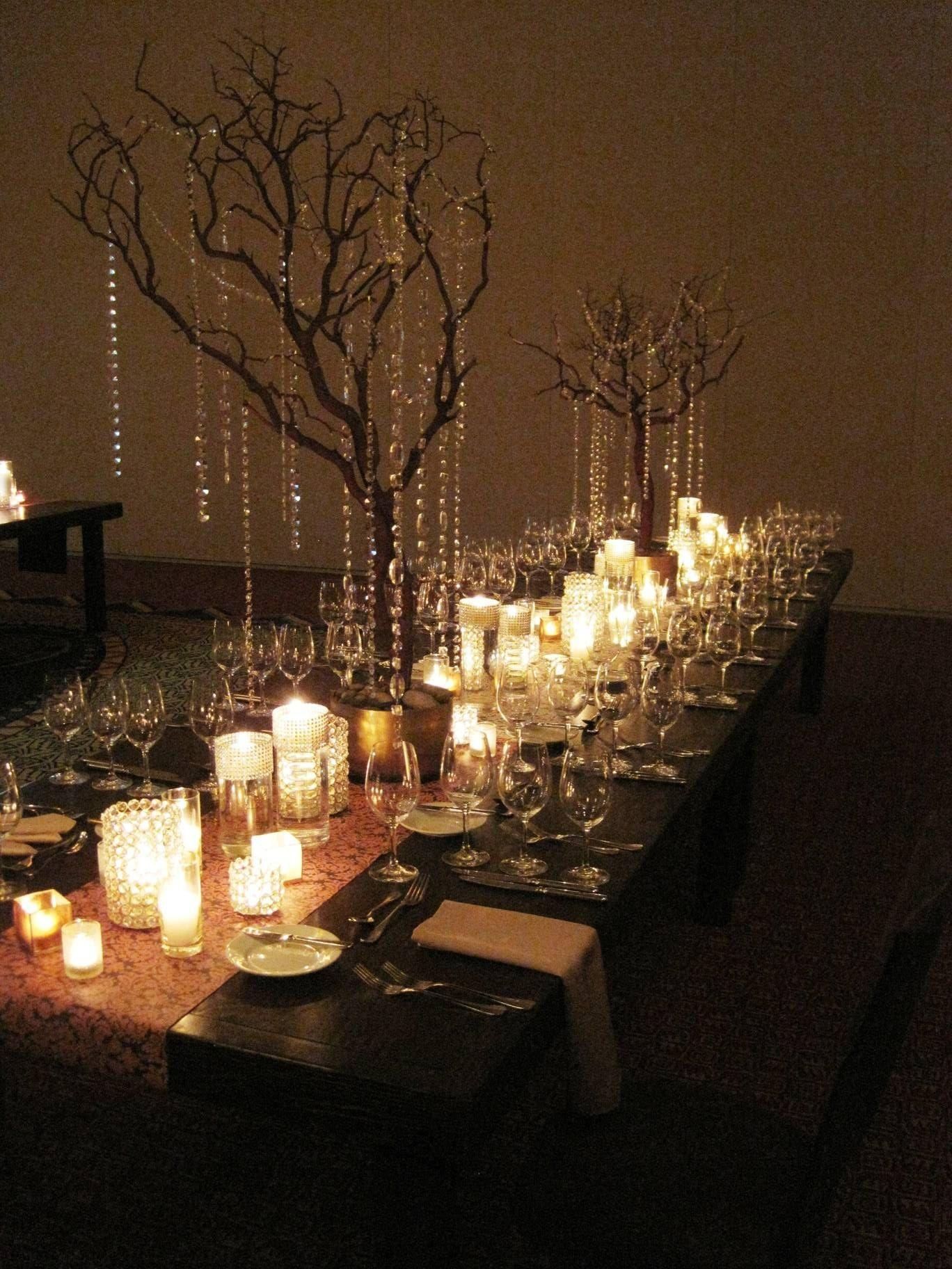 Encore Centerpieces White Crystal Vases Rustic Tree