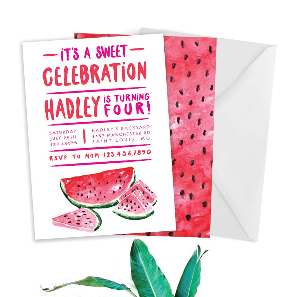 End Year Summer Watermelon Party Invitation Wording