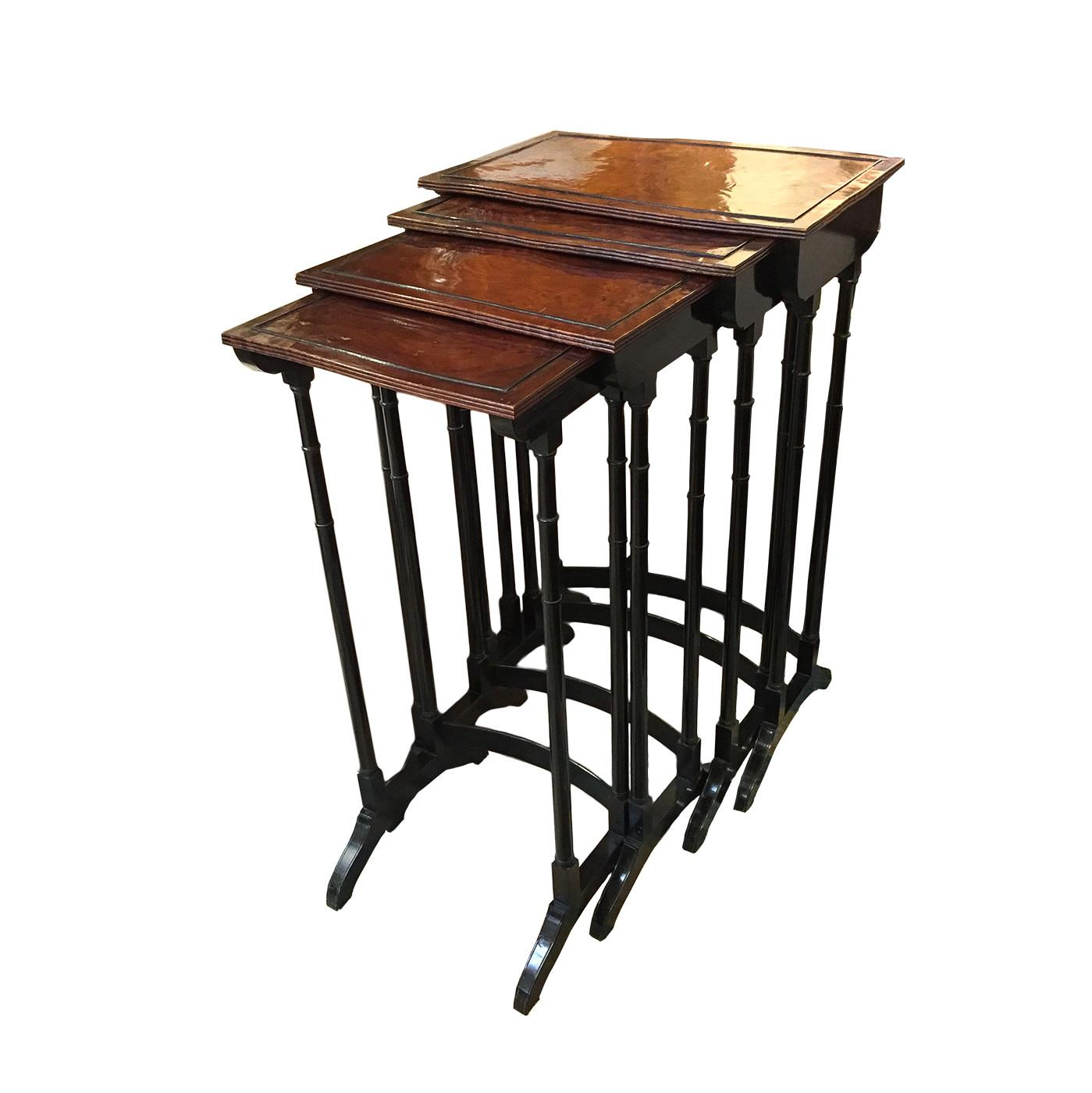 English Quartetto Stackable Nesting Tables Circa 1810