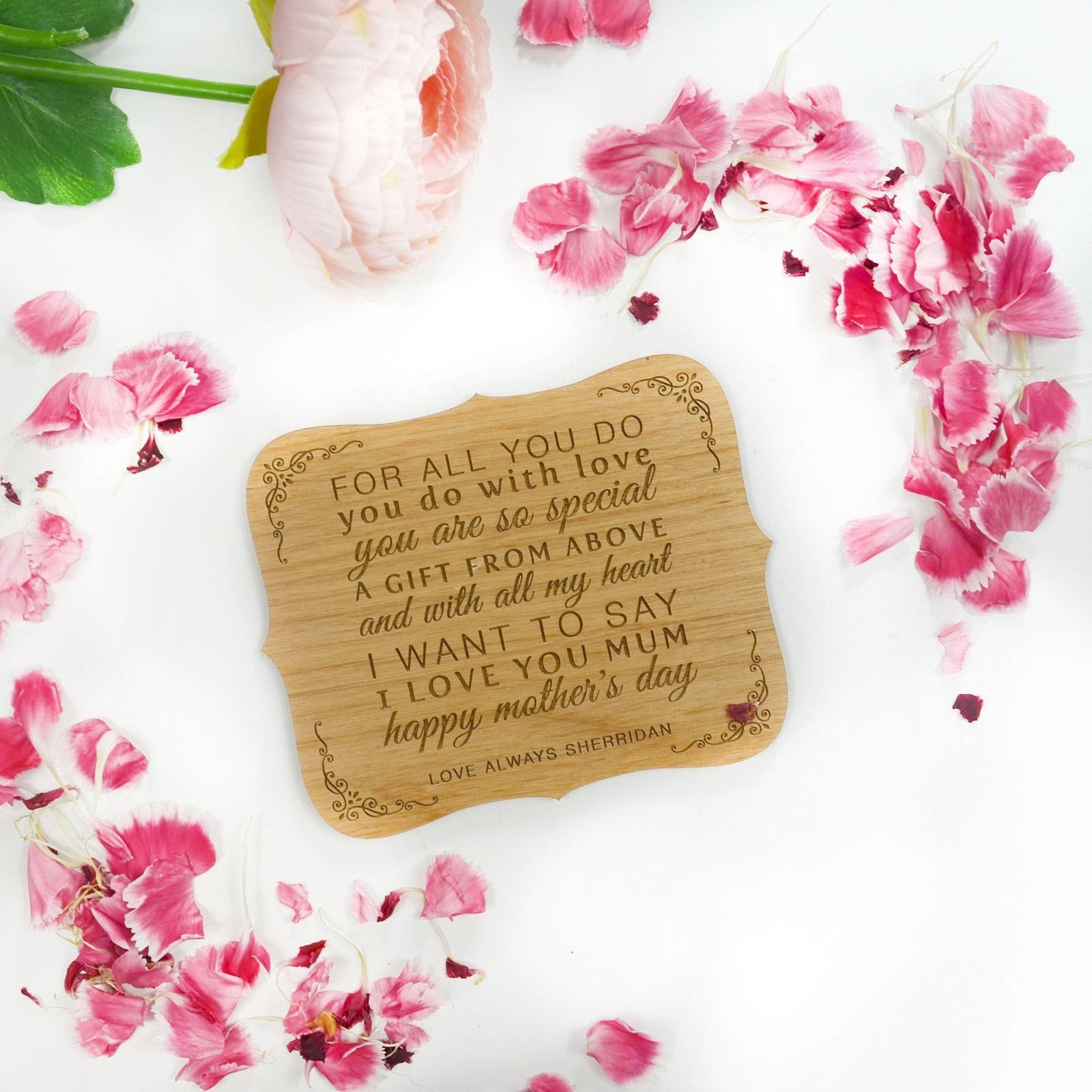Engraved Wooden Mother Day Magnetic Plaque