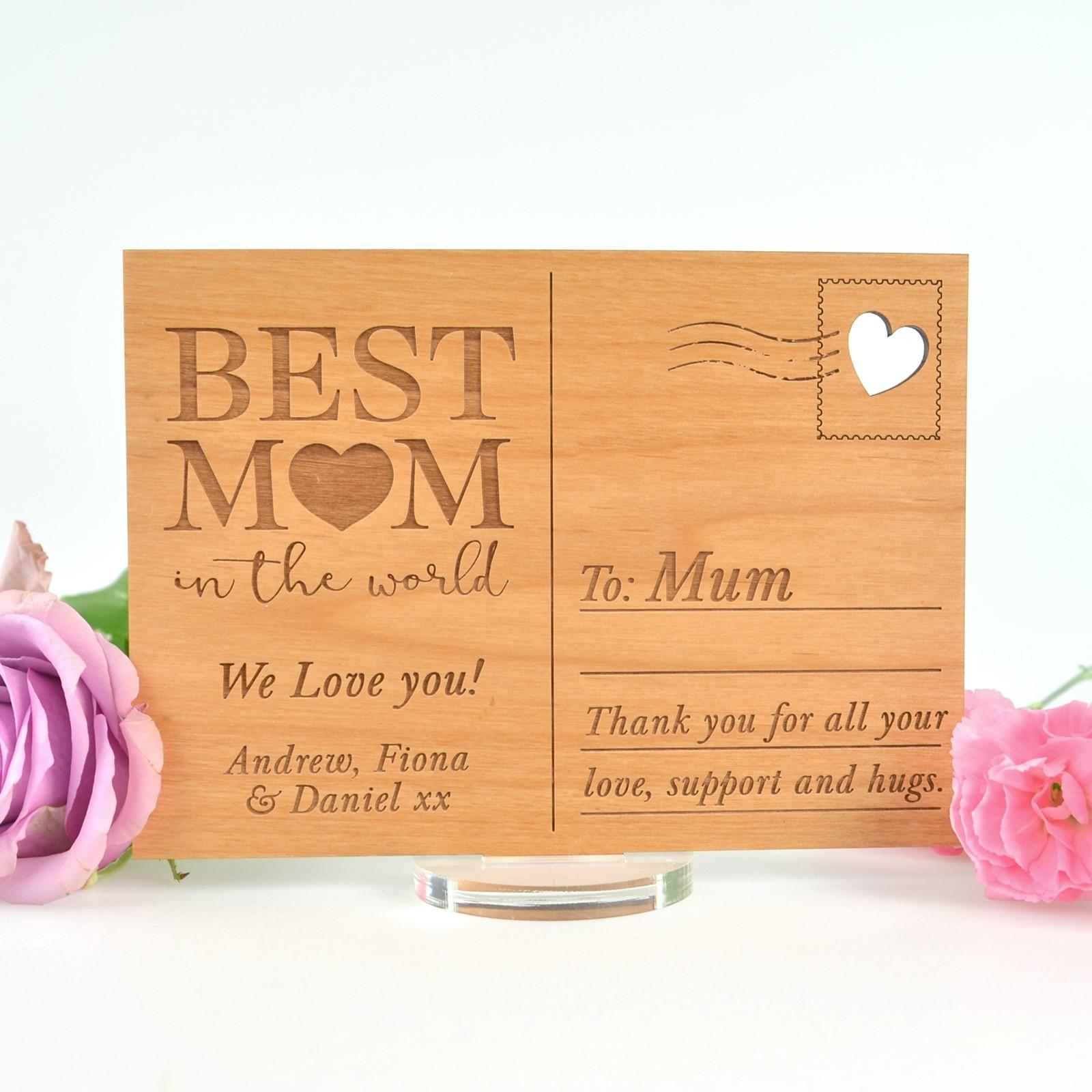 Engraved Wooden Mother Day Postcard Plaque
