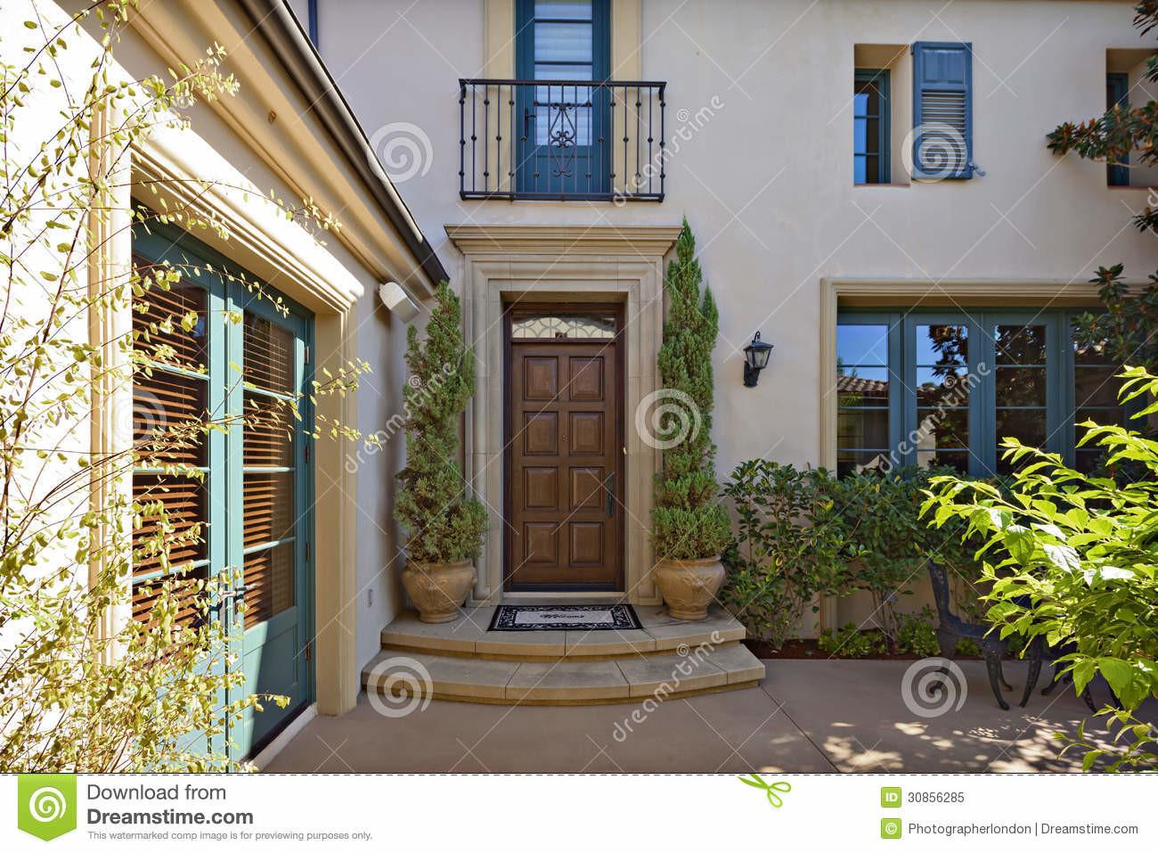 Entrance Beautiful Mediterranean Home Exterior Stock