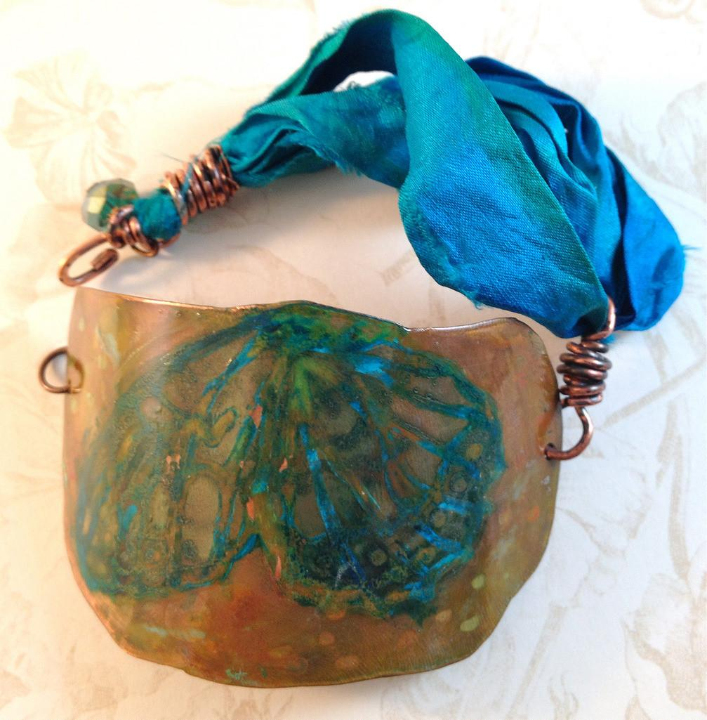 Etched Copper Cuff Ethced Hand Painted
