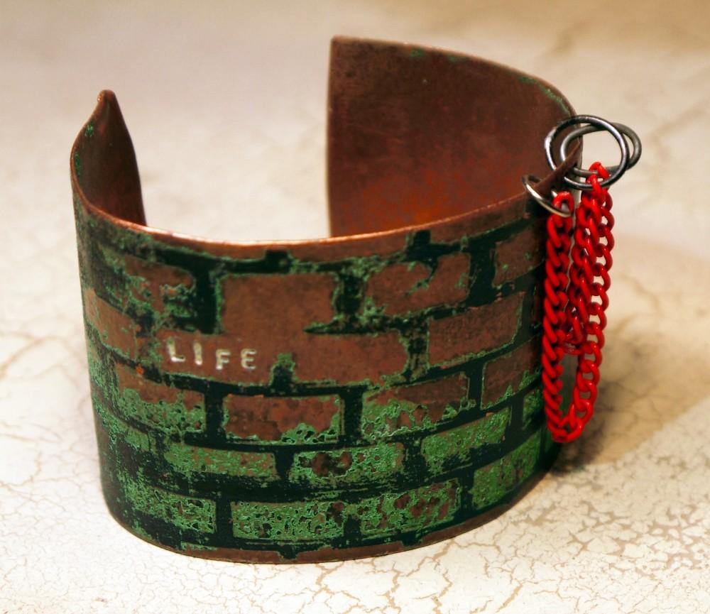 Etched Copper Cuff Life Obstacles Hoops Jomama