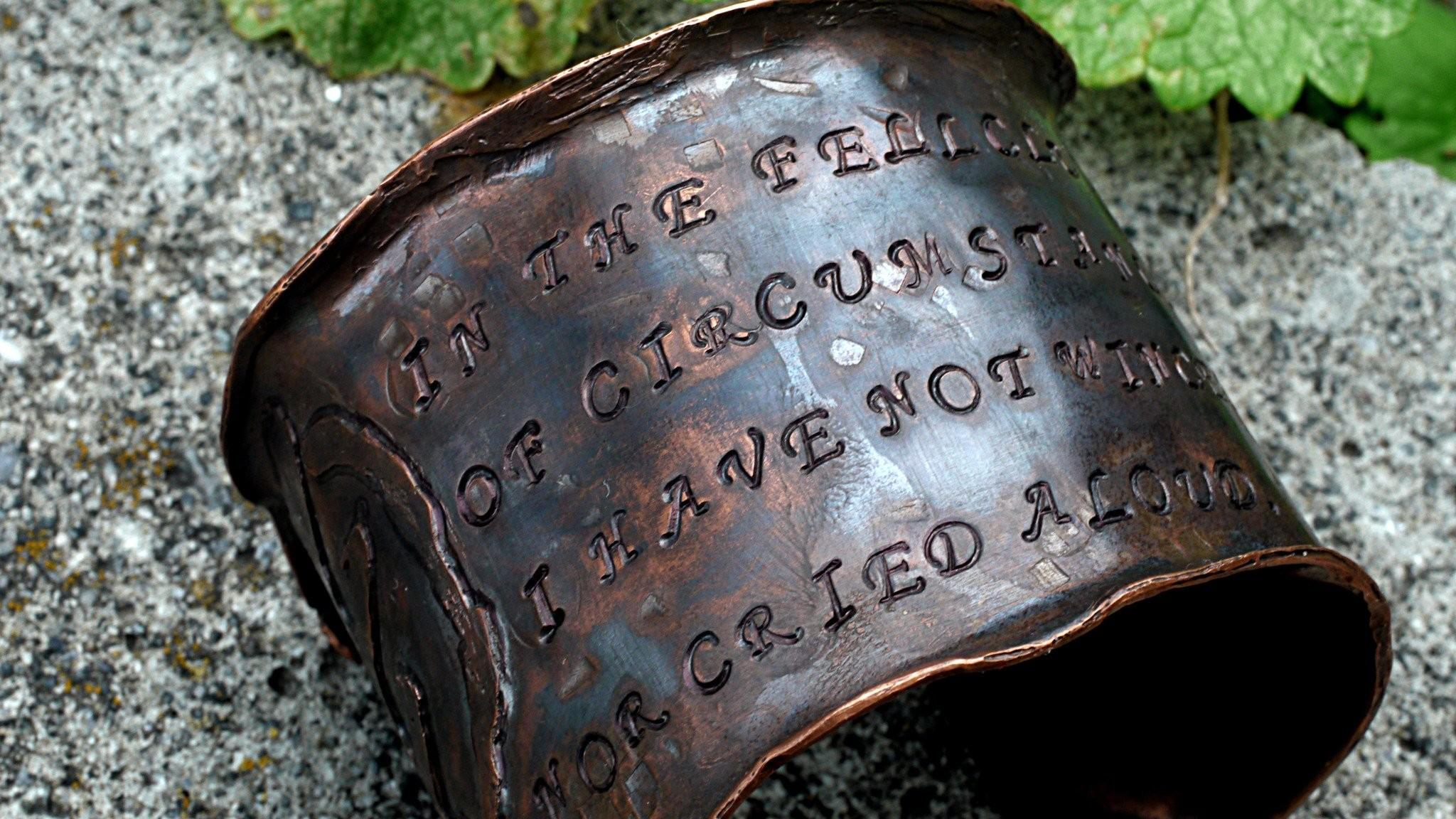 Etched Copper Ethnic Symbols Ernest Henly Inspired Quote