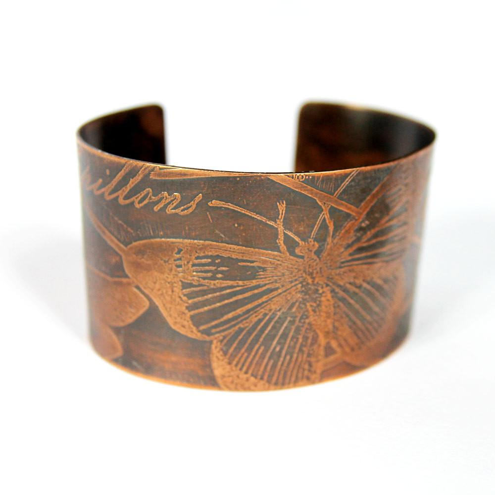 Etched Copper Wide Cuff Bracelet Butterfly Patina Handmade