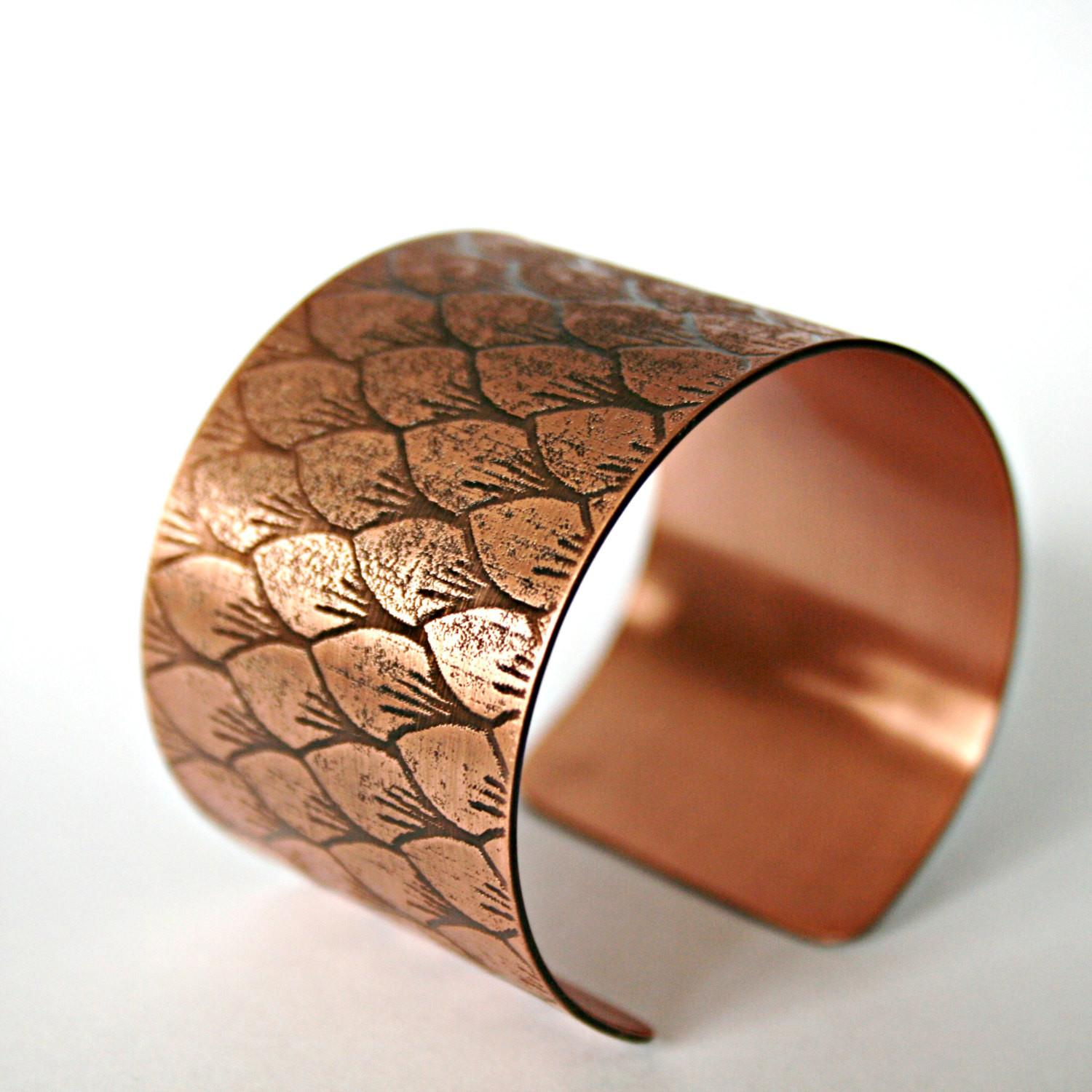 Etched Scales Cuff Solid Gauge Copper Dragon Mermaid
