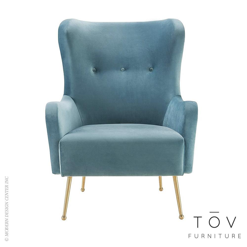 Ethan Sea Blue Velvet Chair Tov Furniture