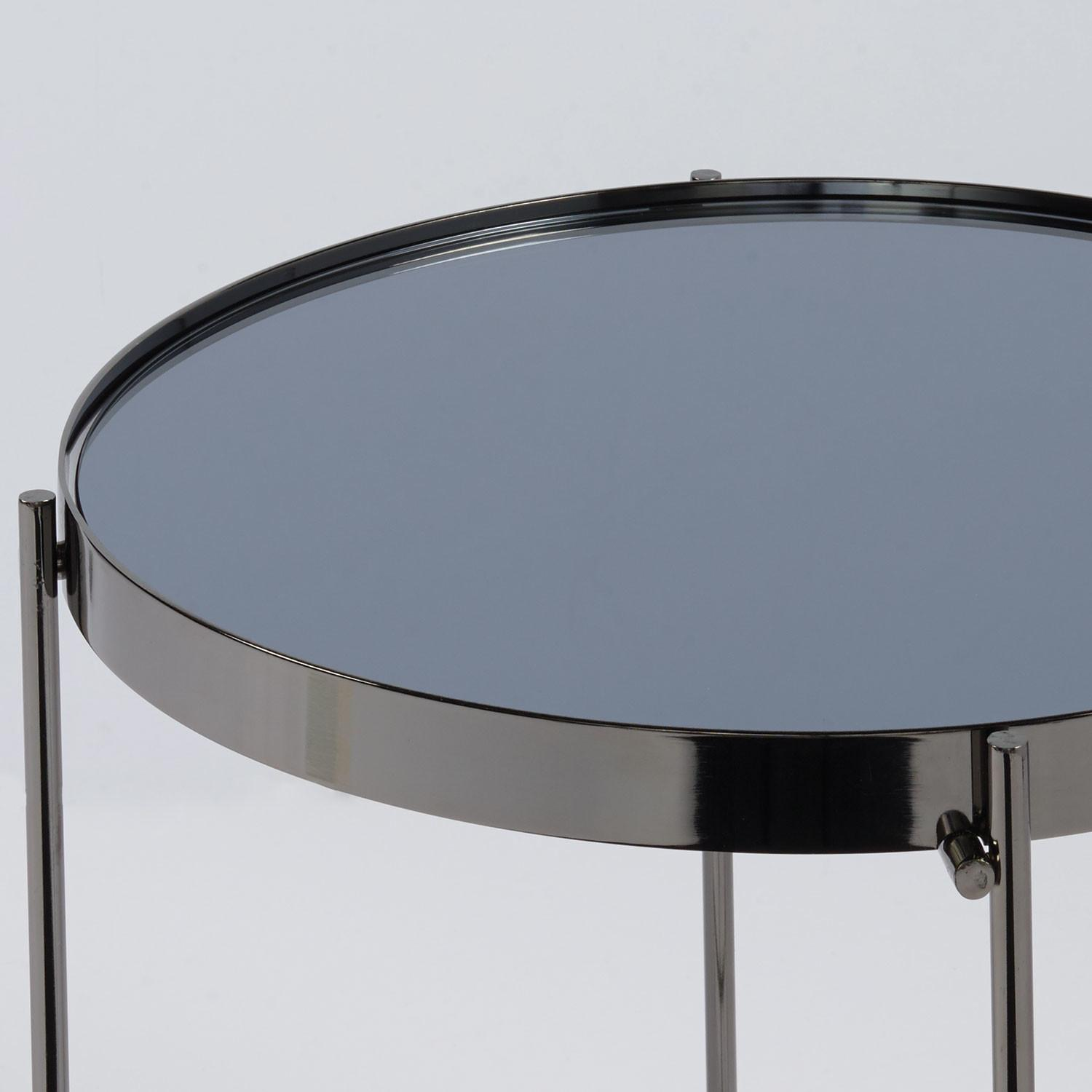 Eurostyle Trinity Round Side Table Black Tinted Mirror