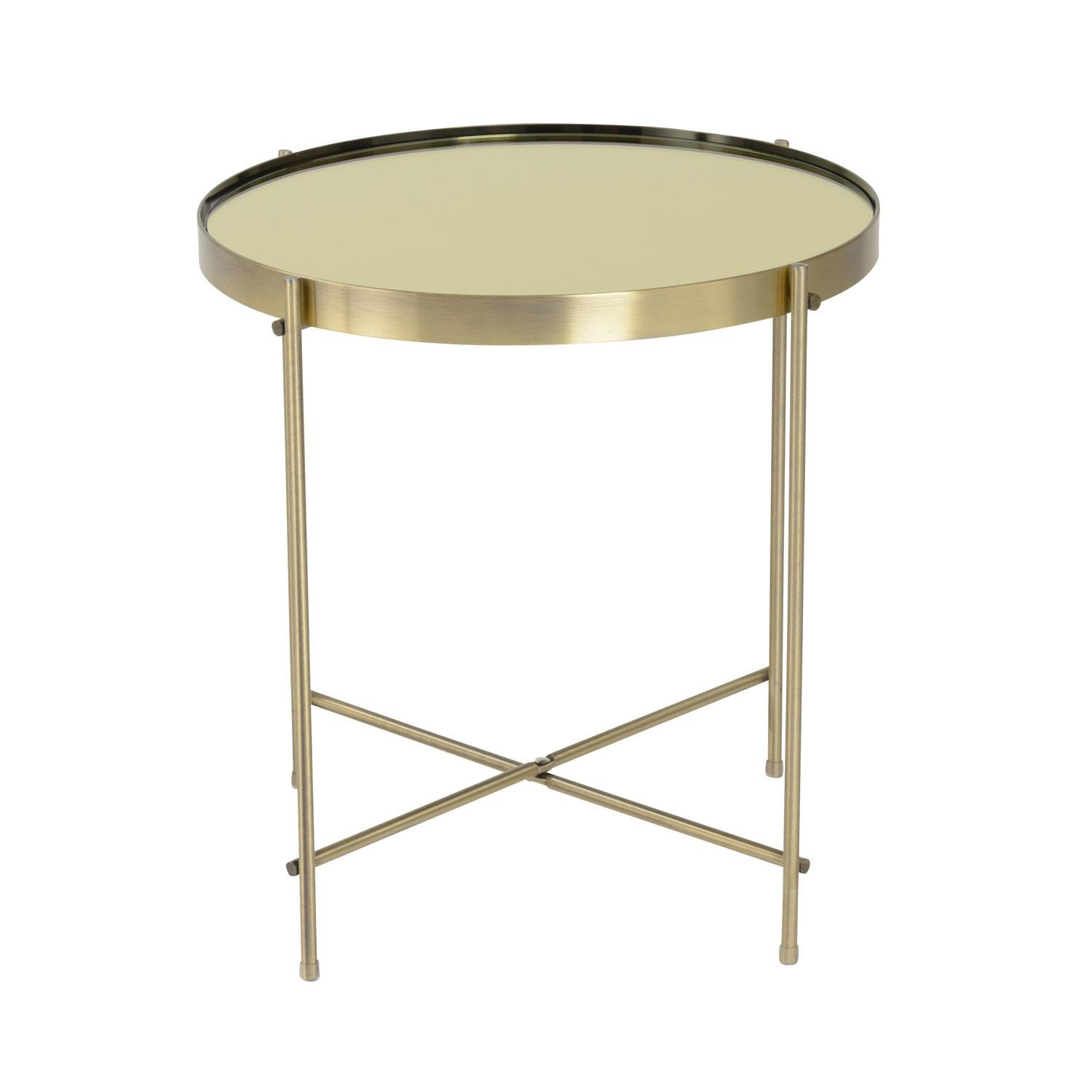 Eurostyle Trinity Round Side Table Brass Tinted Mirror