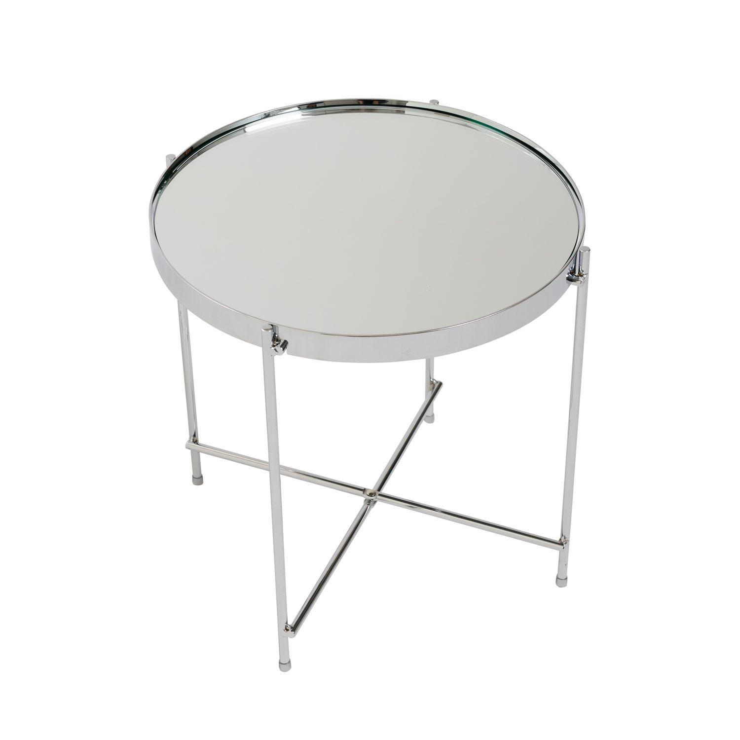 Eurostyle Trinity Round Side Table Chrome Tinted Mirror