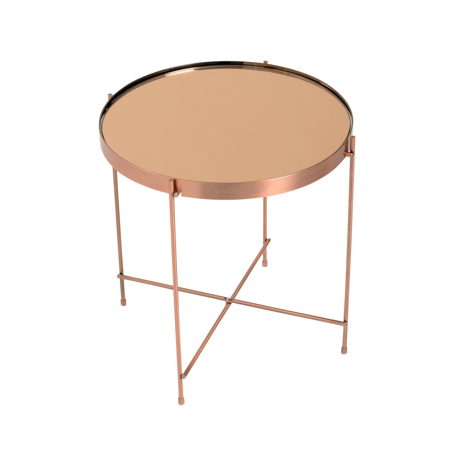 Eurostyle Trinity Round Side Table Copper Tinted Mirror