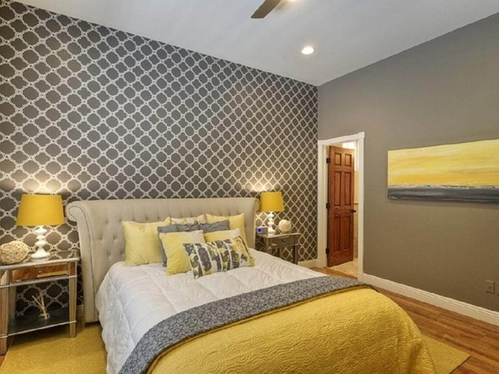 Excellent Grey Striped Yellow Comforter