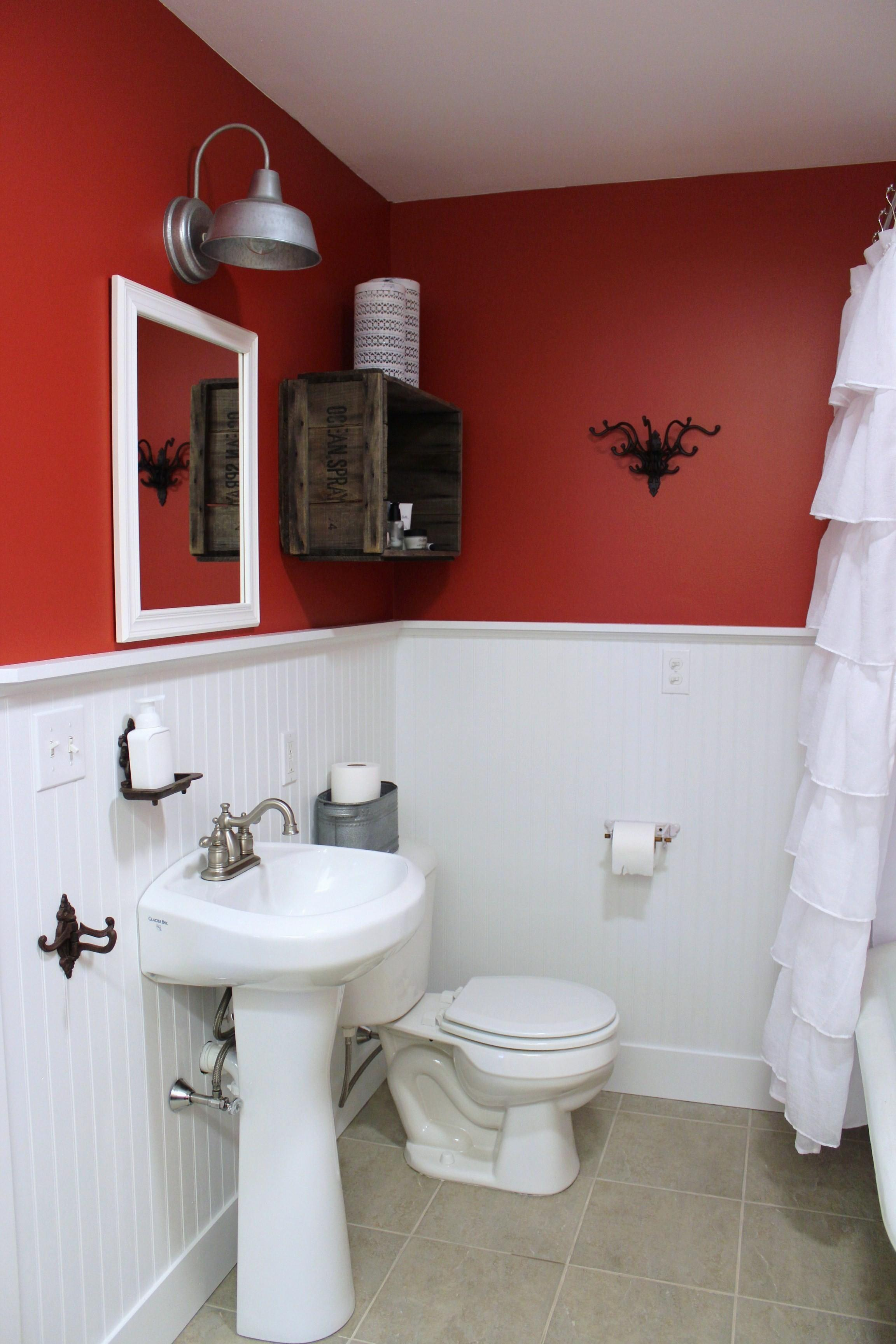 Excellent Two Tone White Red Bathroom Themes Added