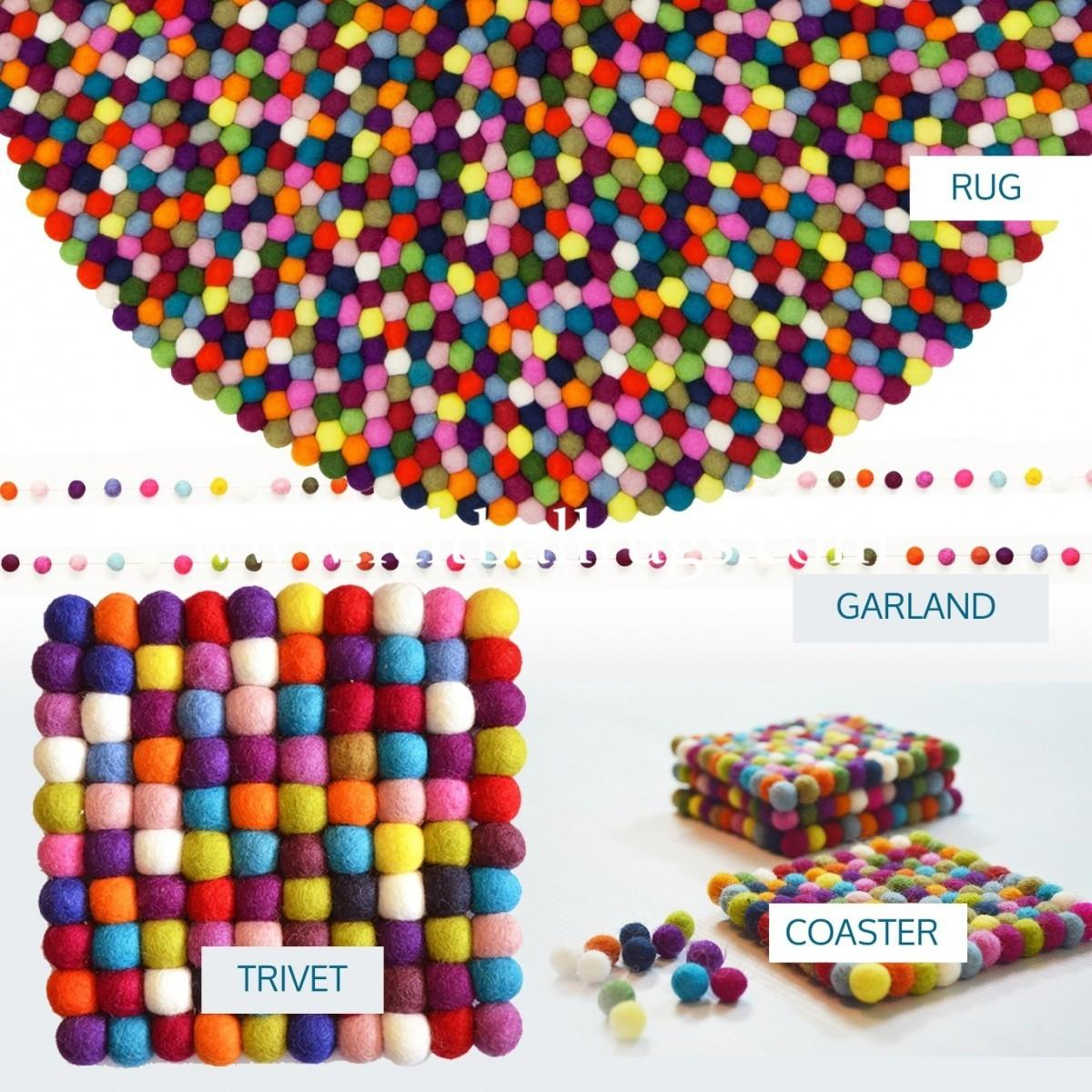 Exclusive Multicolored Felt Ball Rug Package