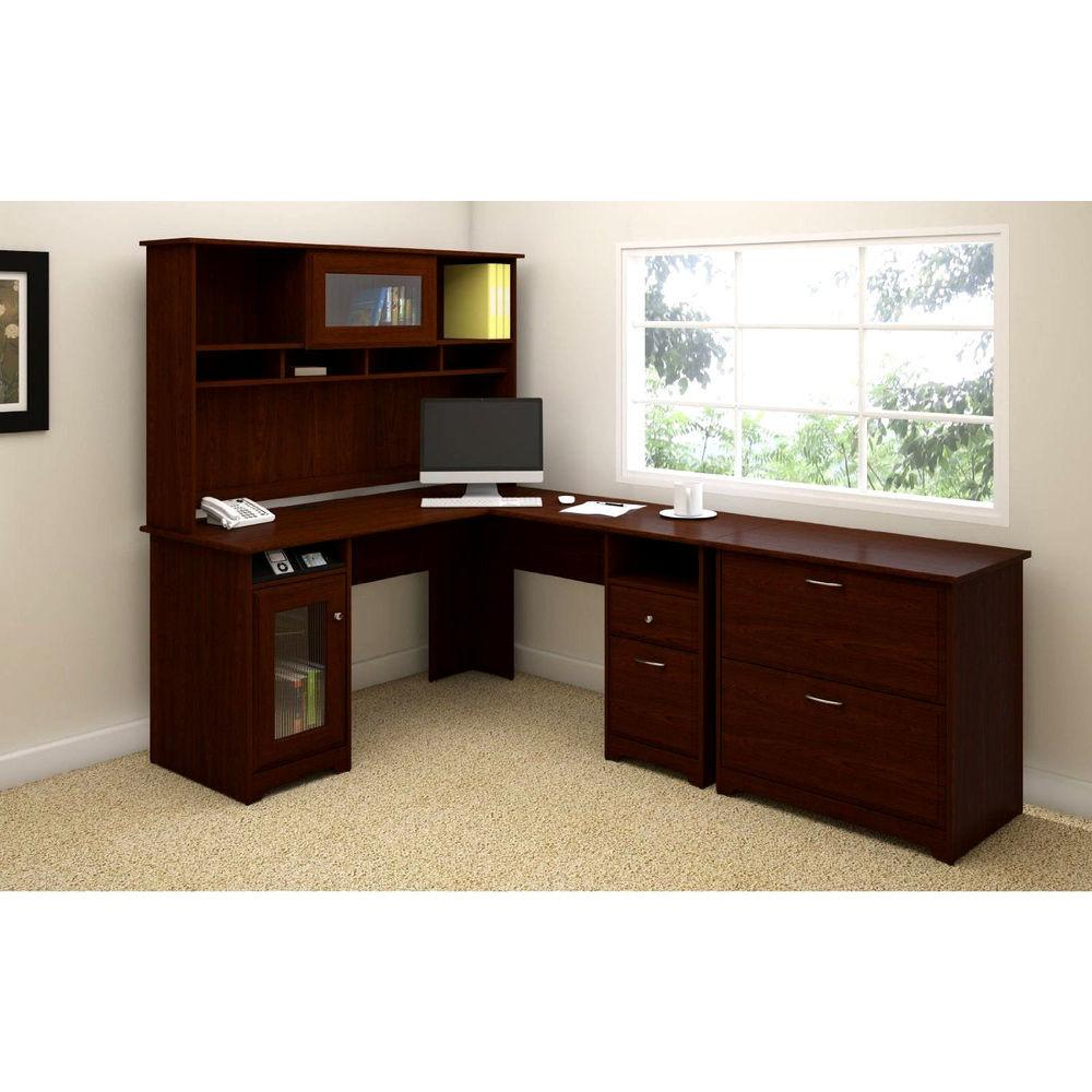Executive Shaped Desk Hutch Cabinet Space Saving