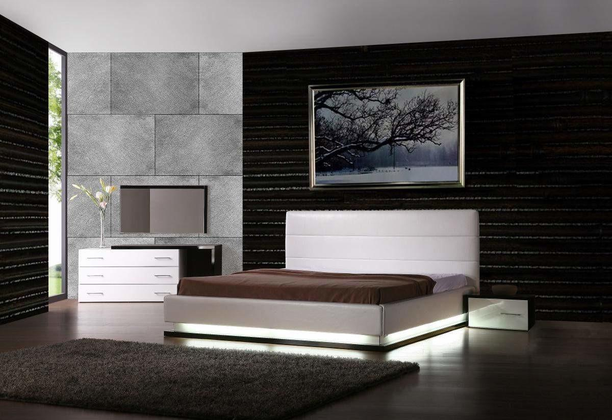 Exotic Leather Modern Contemporary Bedroom Sets Feat Light