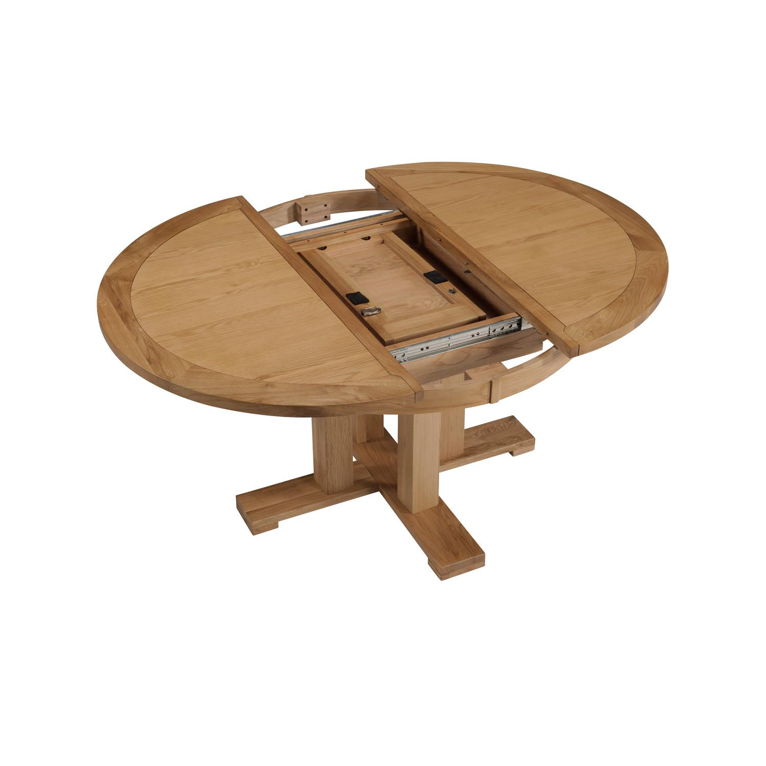 Expandable Round Modern Dining Table Wooden Base