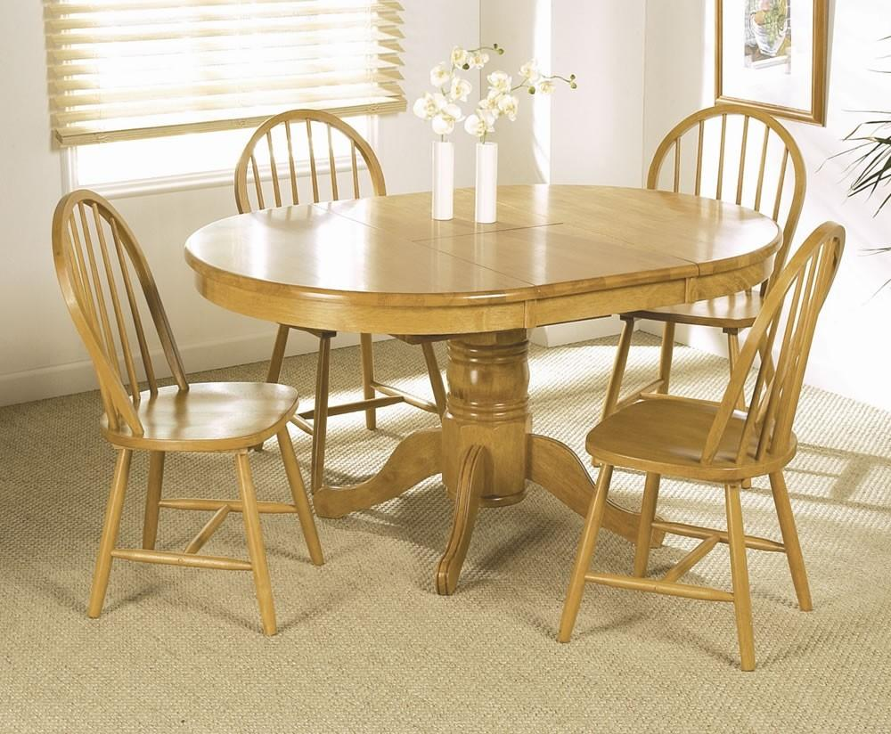 Expandable Wood Dining Table Set Round Rustic Kitchen