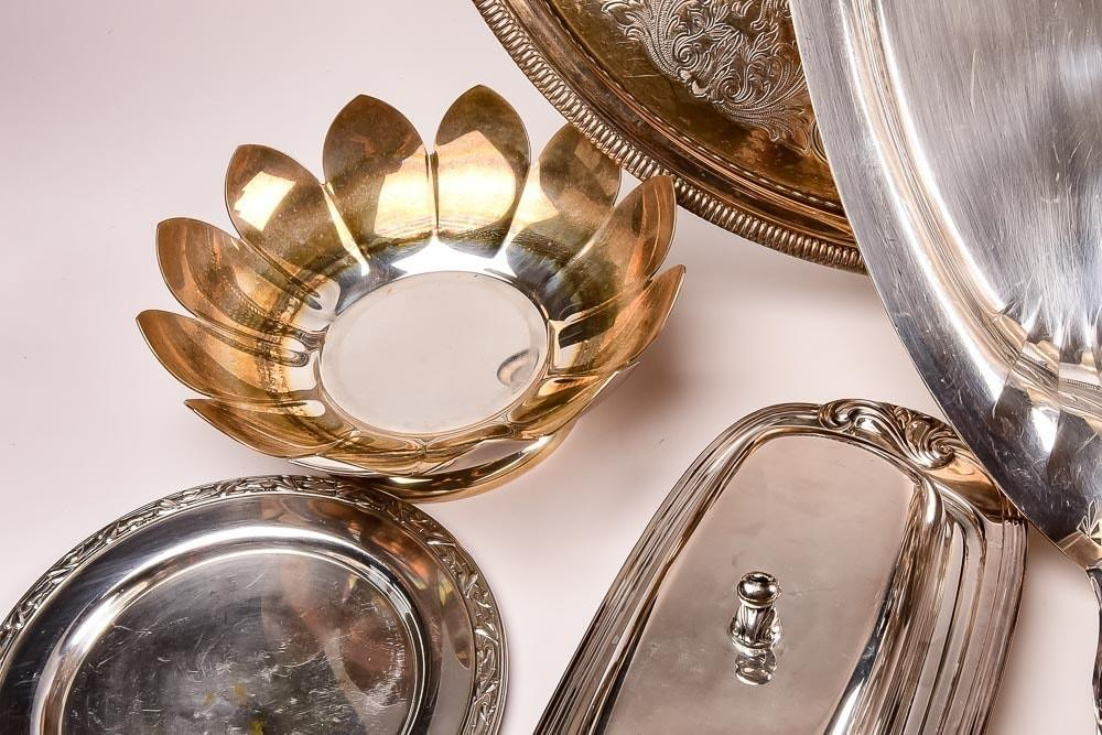 Expansive Collection Silver Plate Serving Pieces Ebth