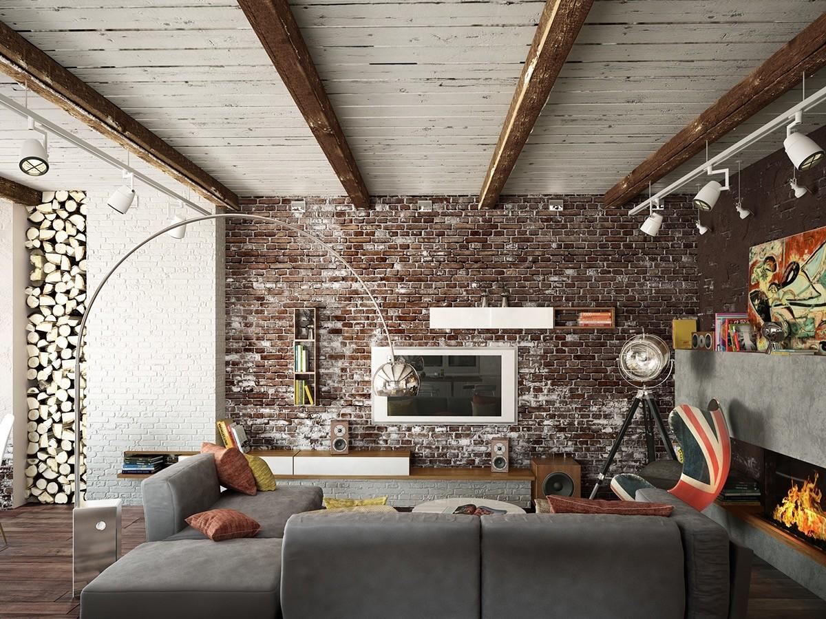 Top Living Room Design Brick Wall