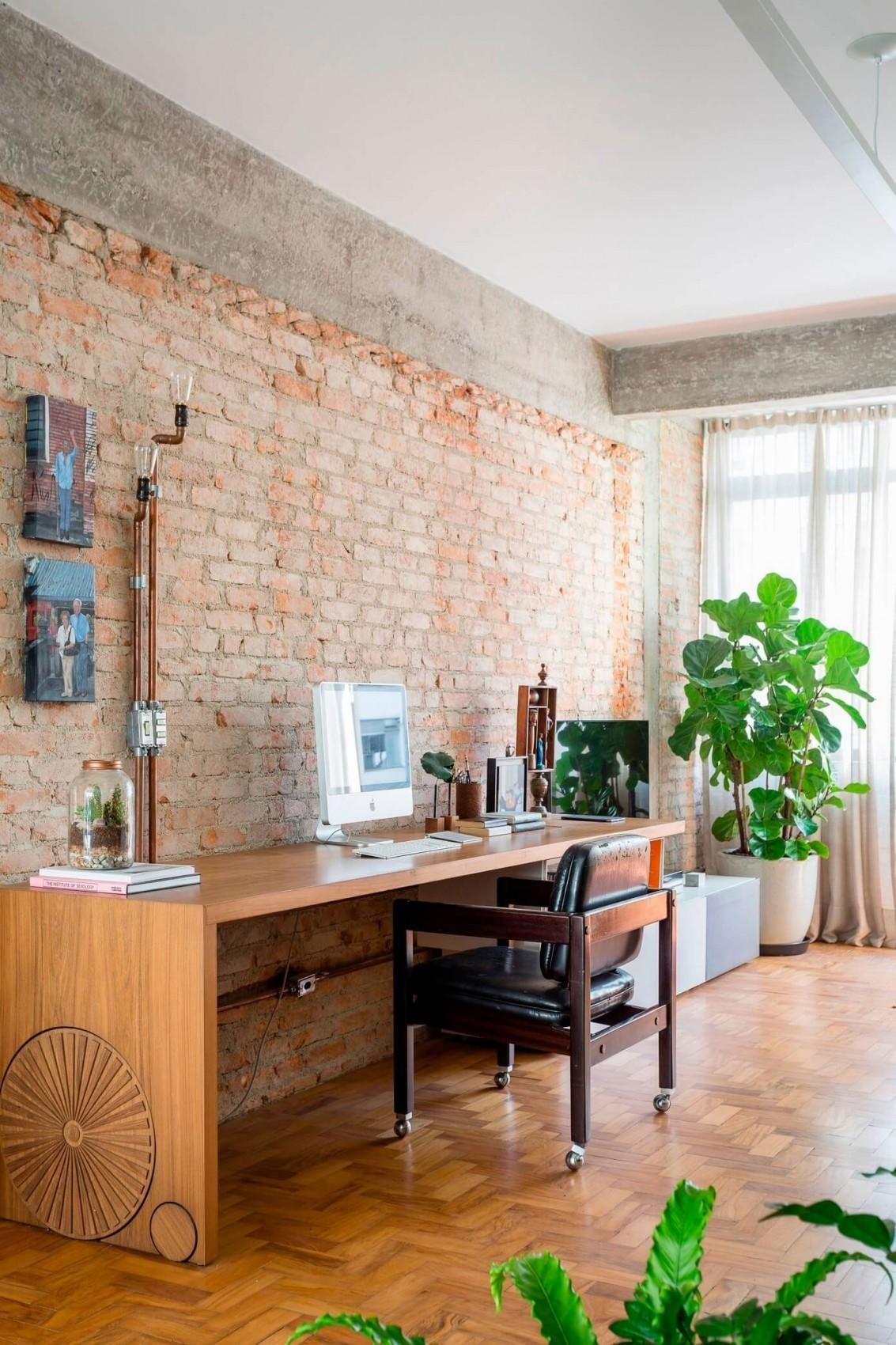 Exposed Concrete Brick Walls Highlighted Apartment