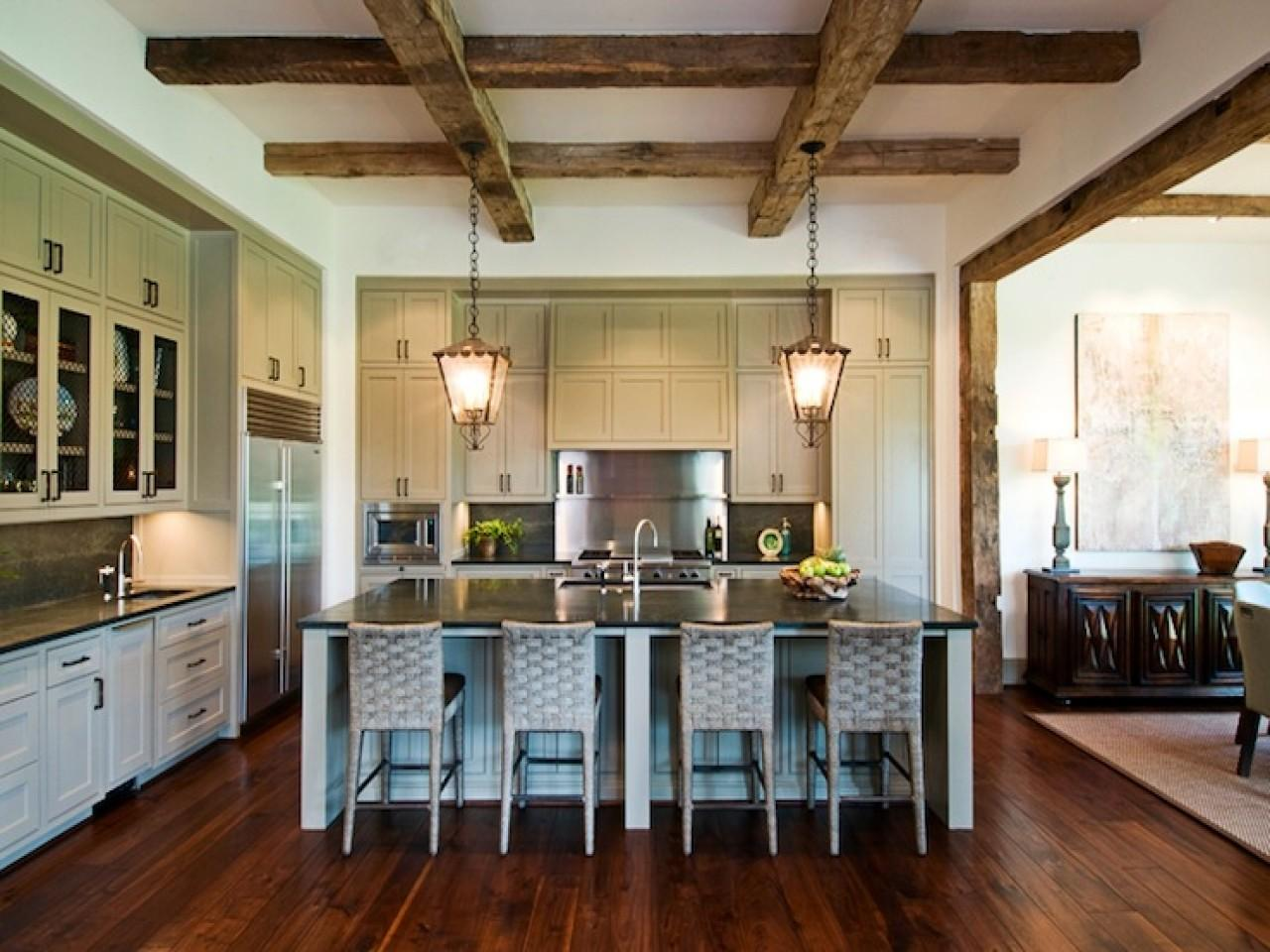 Exposed Wood Beams Ceiling Transitional Kitchen Dillon