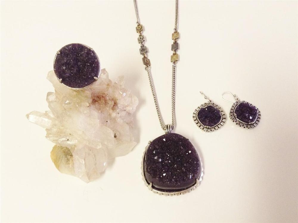Exquisite Jewelry Suite Lucky Brand Faux Amethyst Geode
