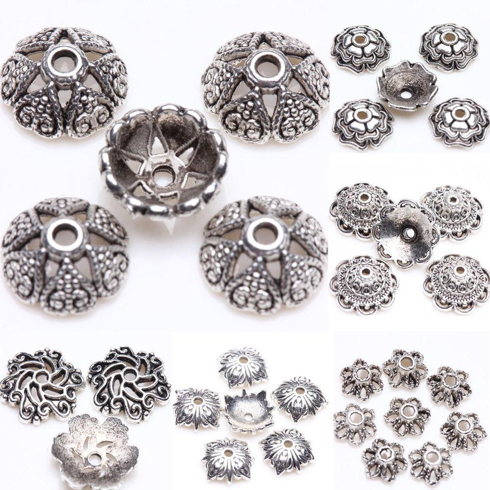 Exquisite Silver Plated Loose Spacer Bead Flower Caps