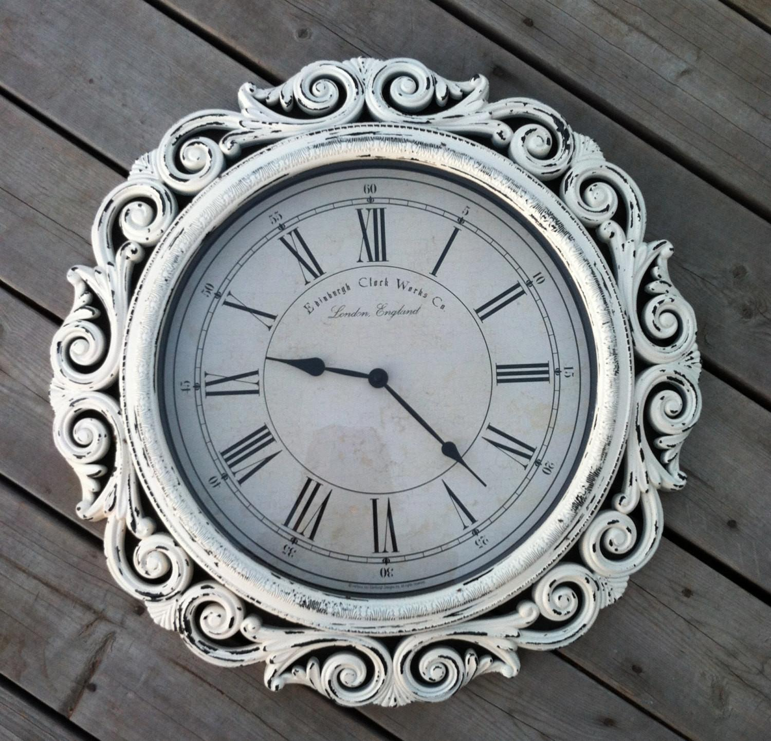 Extra Large Baroque Wall Clock Wide White Cottage