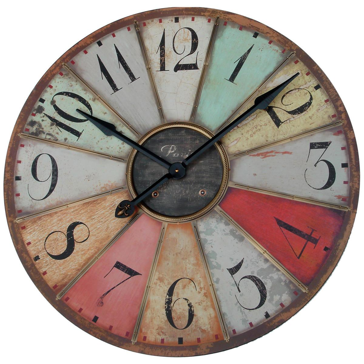 Extra Large Vintage Round Wall Clock Colorful Numbers