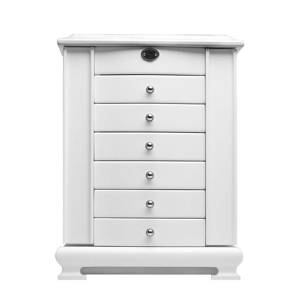 Extra Large White Wooden Jewelry Box Armoire Cabinet Chest