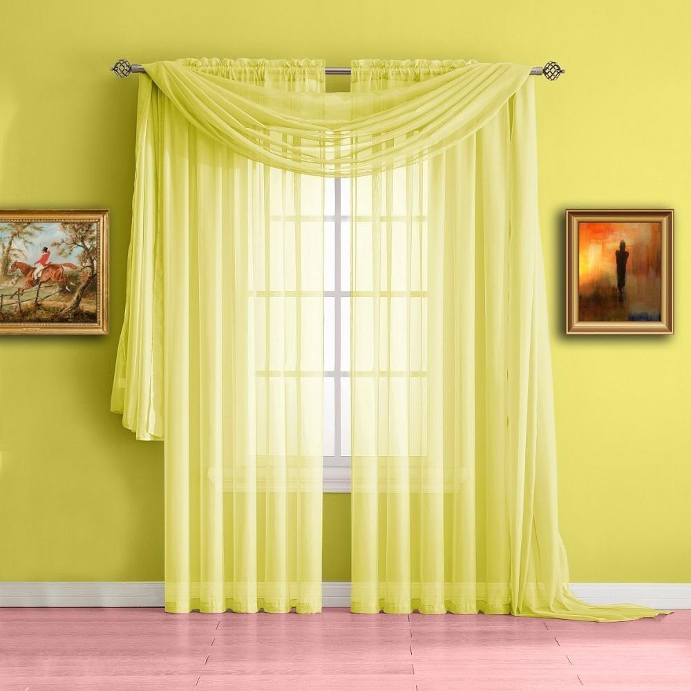Extra Long Light Yellow Valance Window Scarf Voile