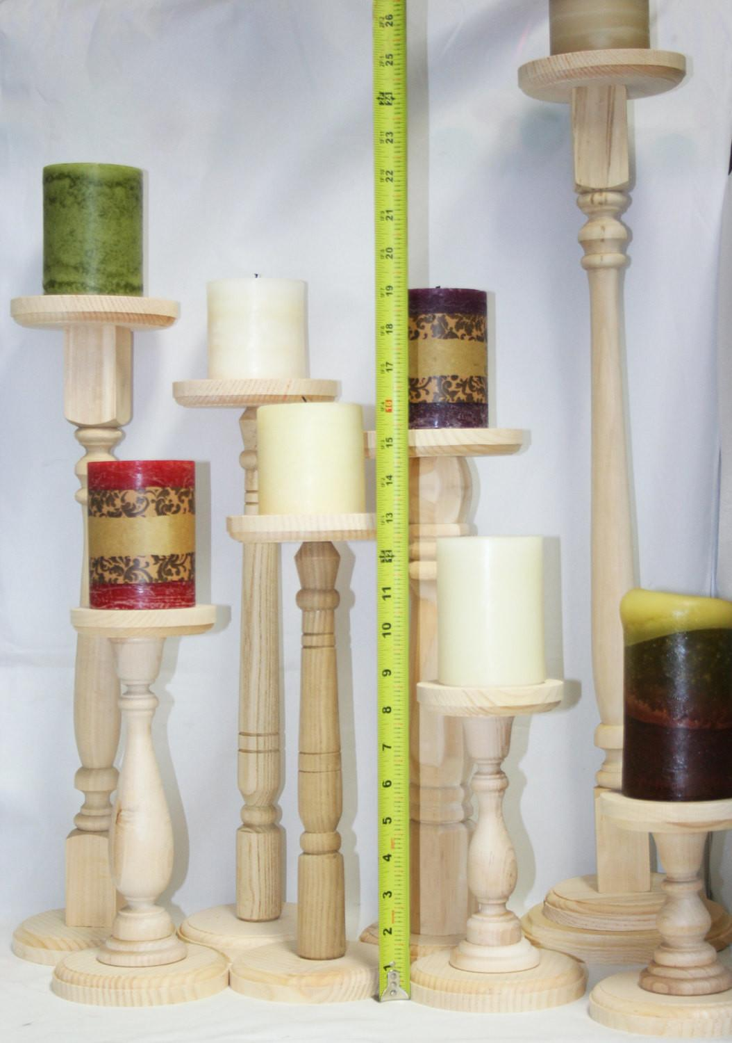 Extra Tall Unfinished Wood Pillar Candlestick Holders