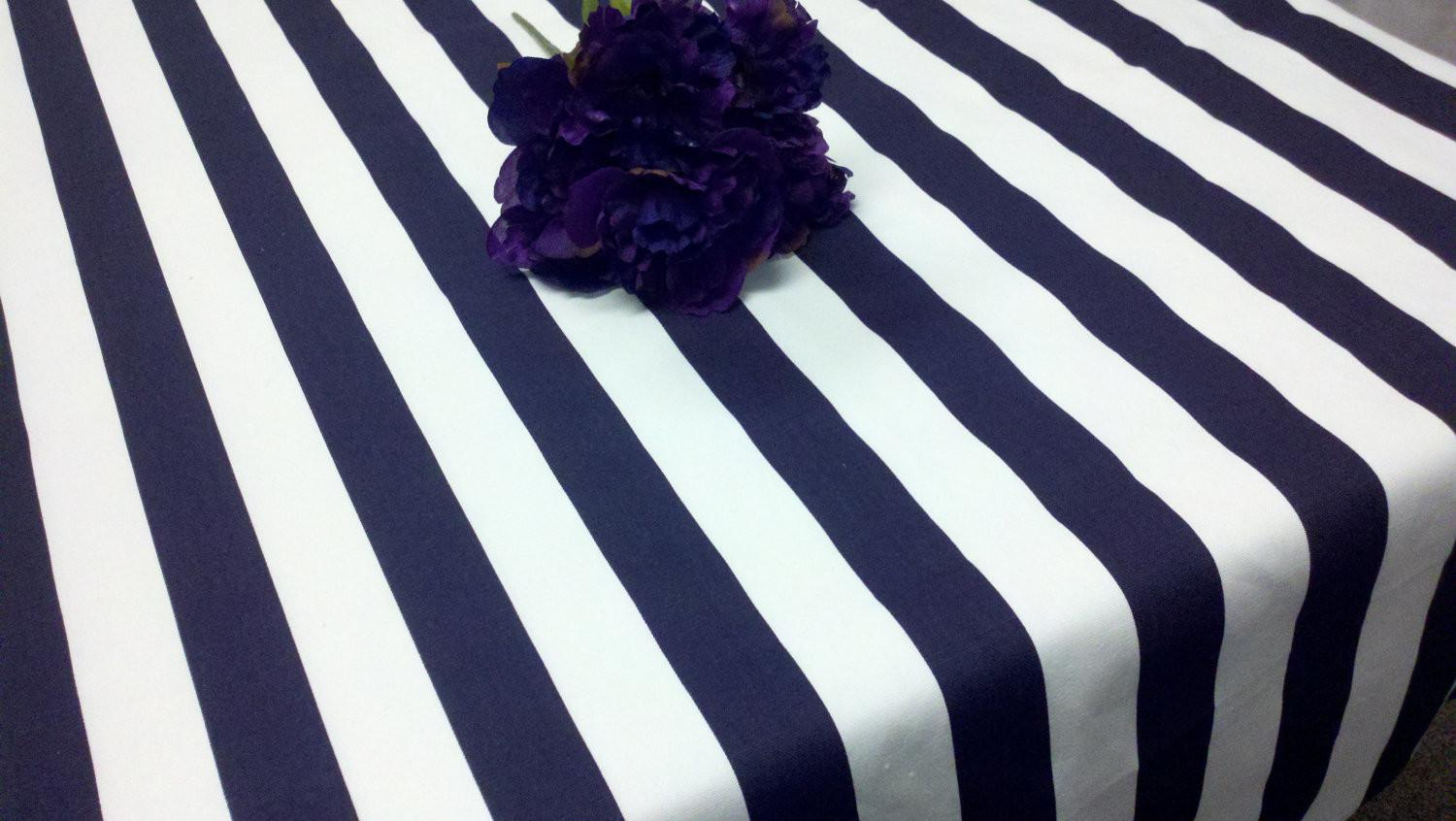 Extraordinary Black White Striped Tablecloth