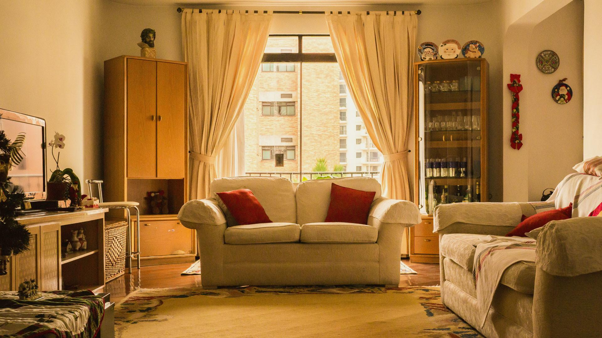 Eye Catching Double White Fabric Curtain Windows Also Two