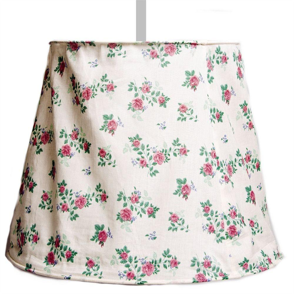 Fabric Ceiling Light Shade Pretty Bedroom Cream Pink Roses