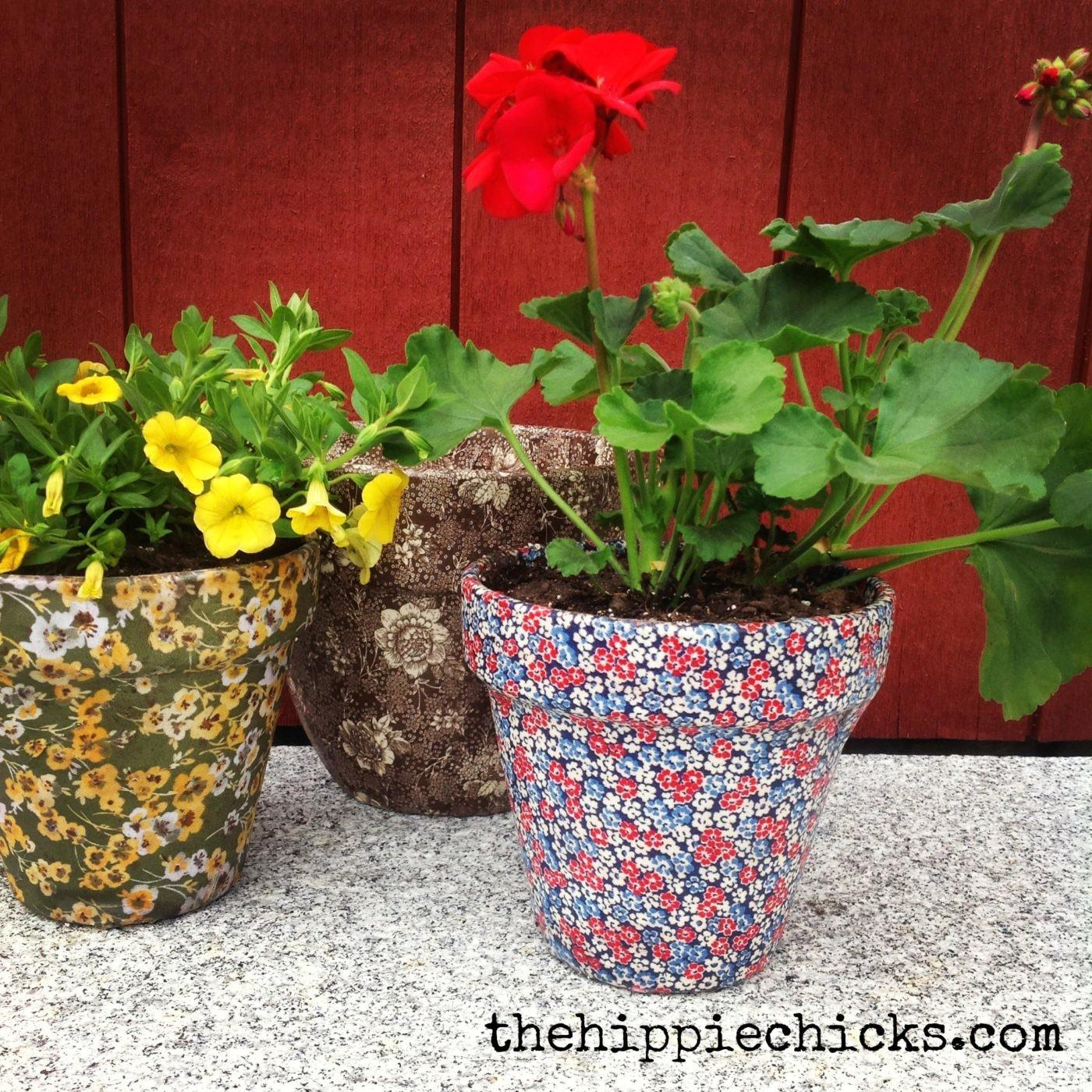 Fabric Covered Clay Pots Hippie Chicks