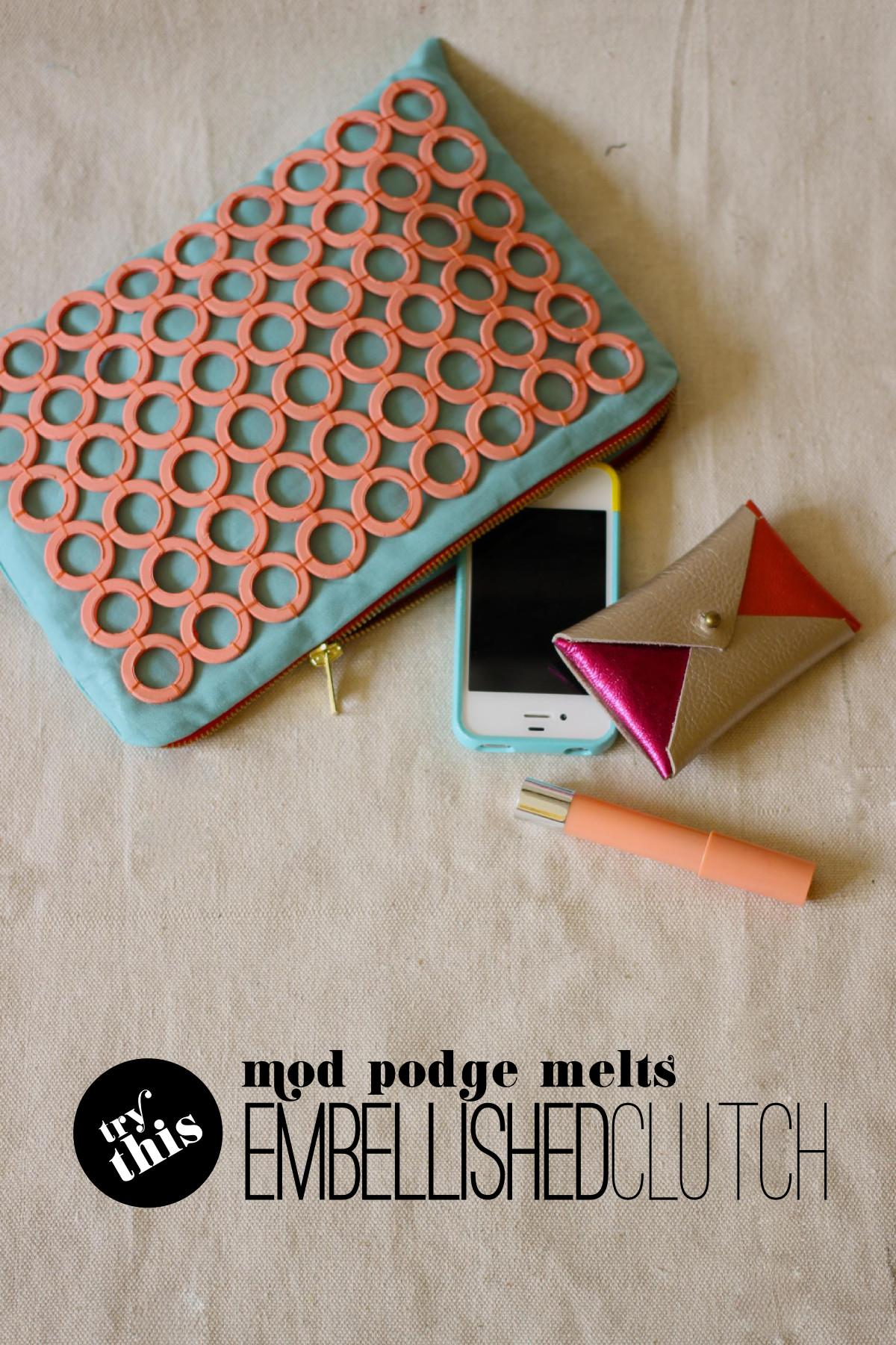 Fabric Paper Glue Try Mod Melts Embellished Clutch