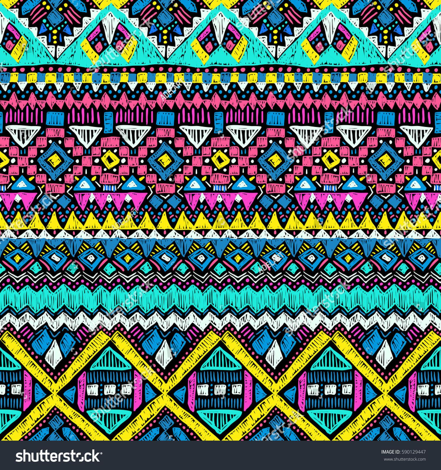 Fabric Pattern Tribal Ornament Ethnic Style Stock Vector