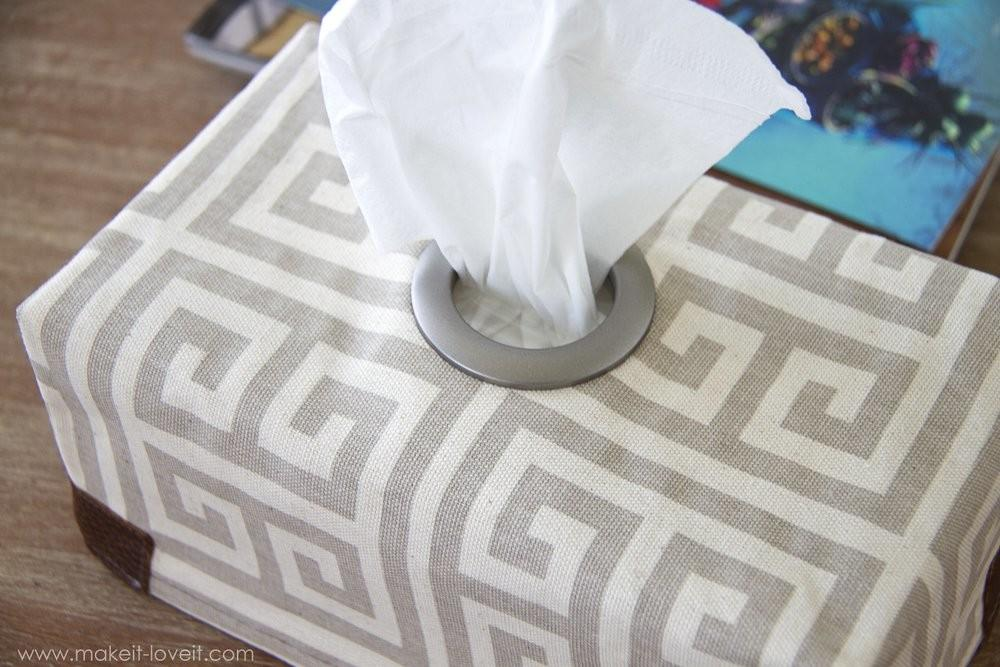 Fabric Tissue Box Cover Grommet Opening Make