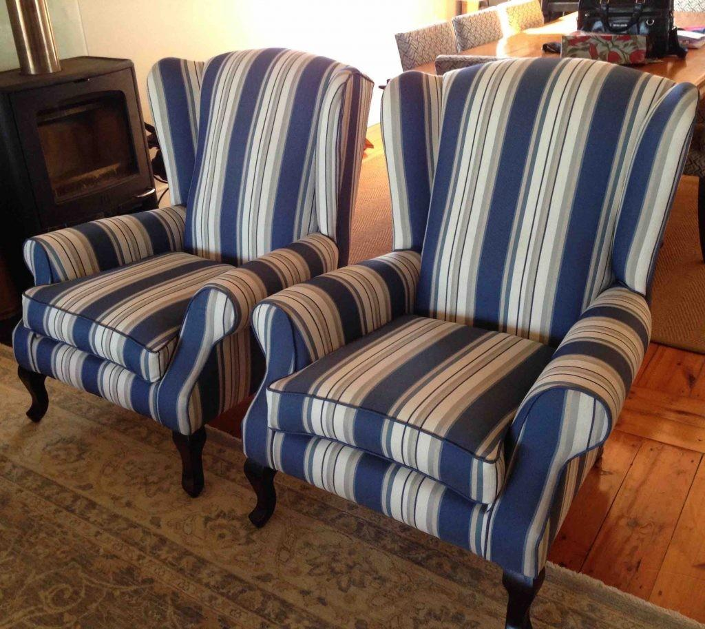 Fabric Wingback Chairs Blue Stripes Upholstery Cape Town