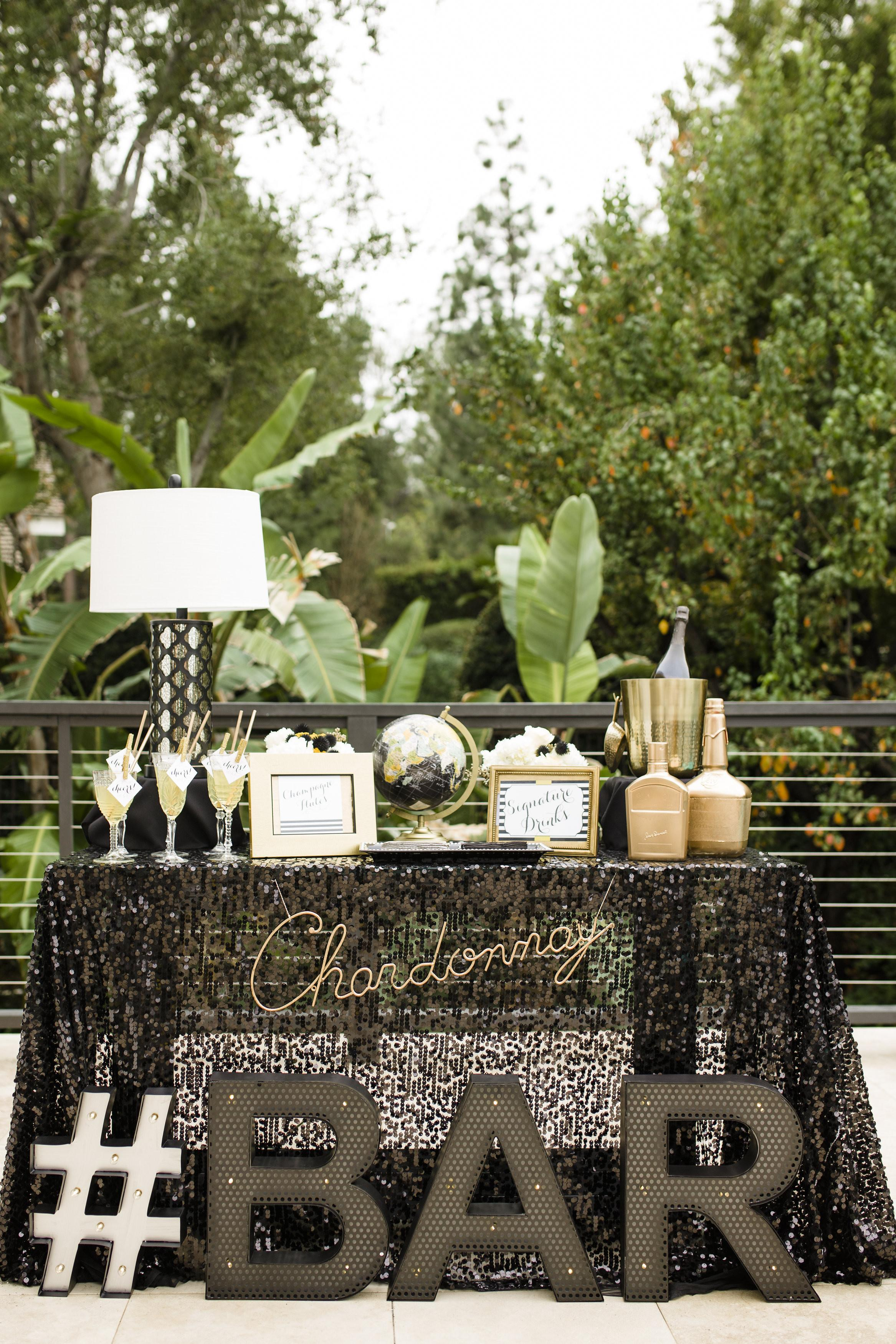 Fabulous Cocktail Station Featuring Black Sequined