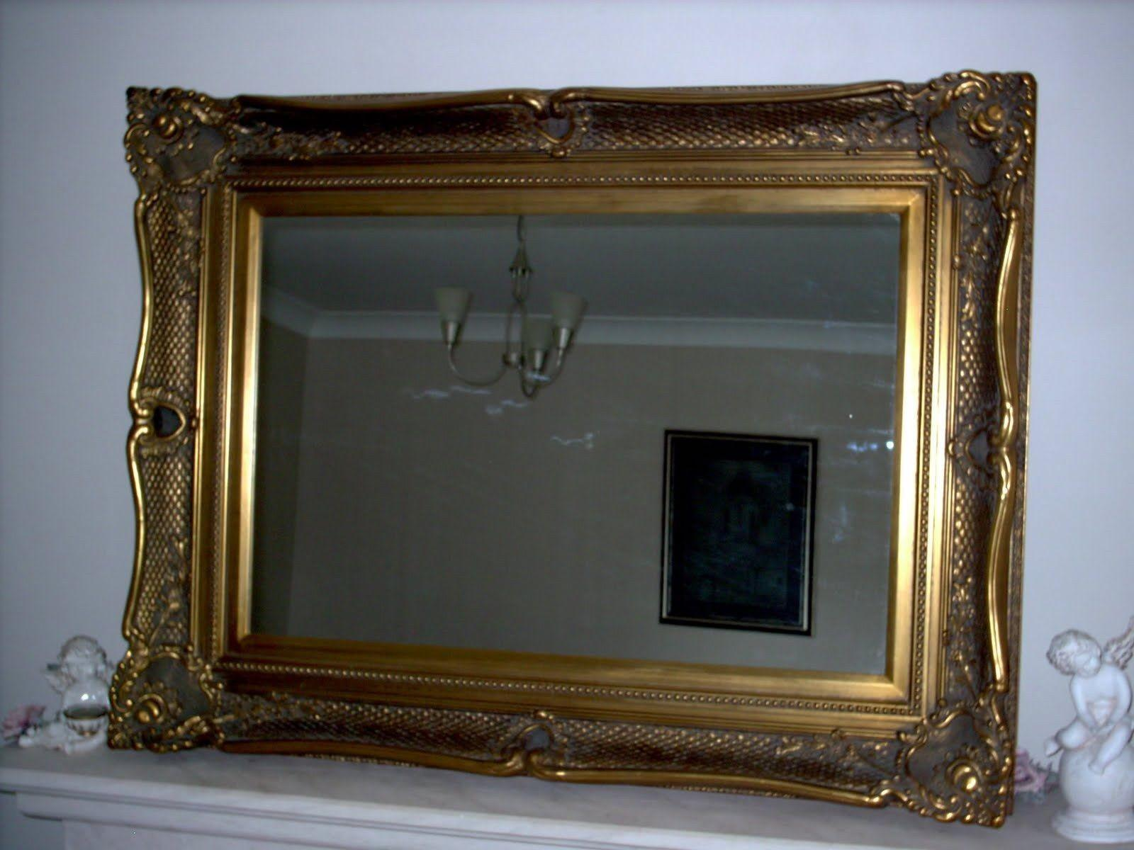 Fabulous Large Antique Gold Wall Mirror Wide