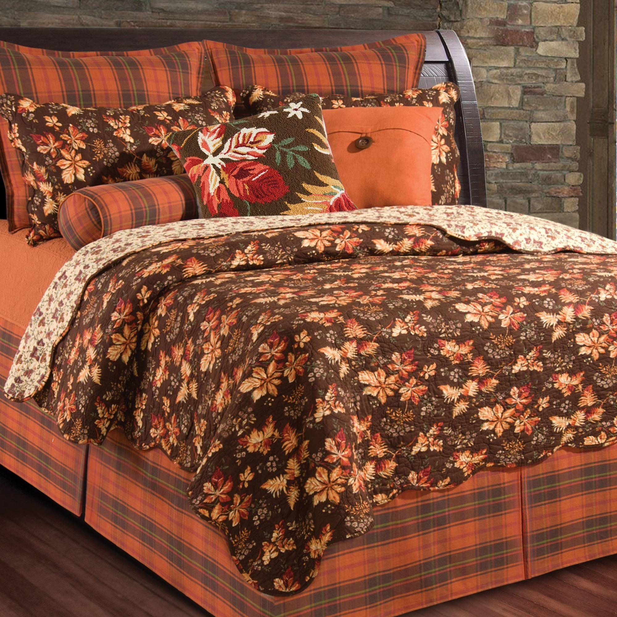 Fall Bedroom Decor Leaves Quilts Bedding Autumn