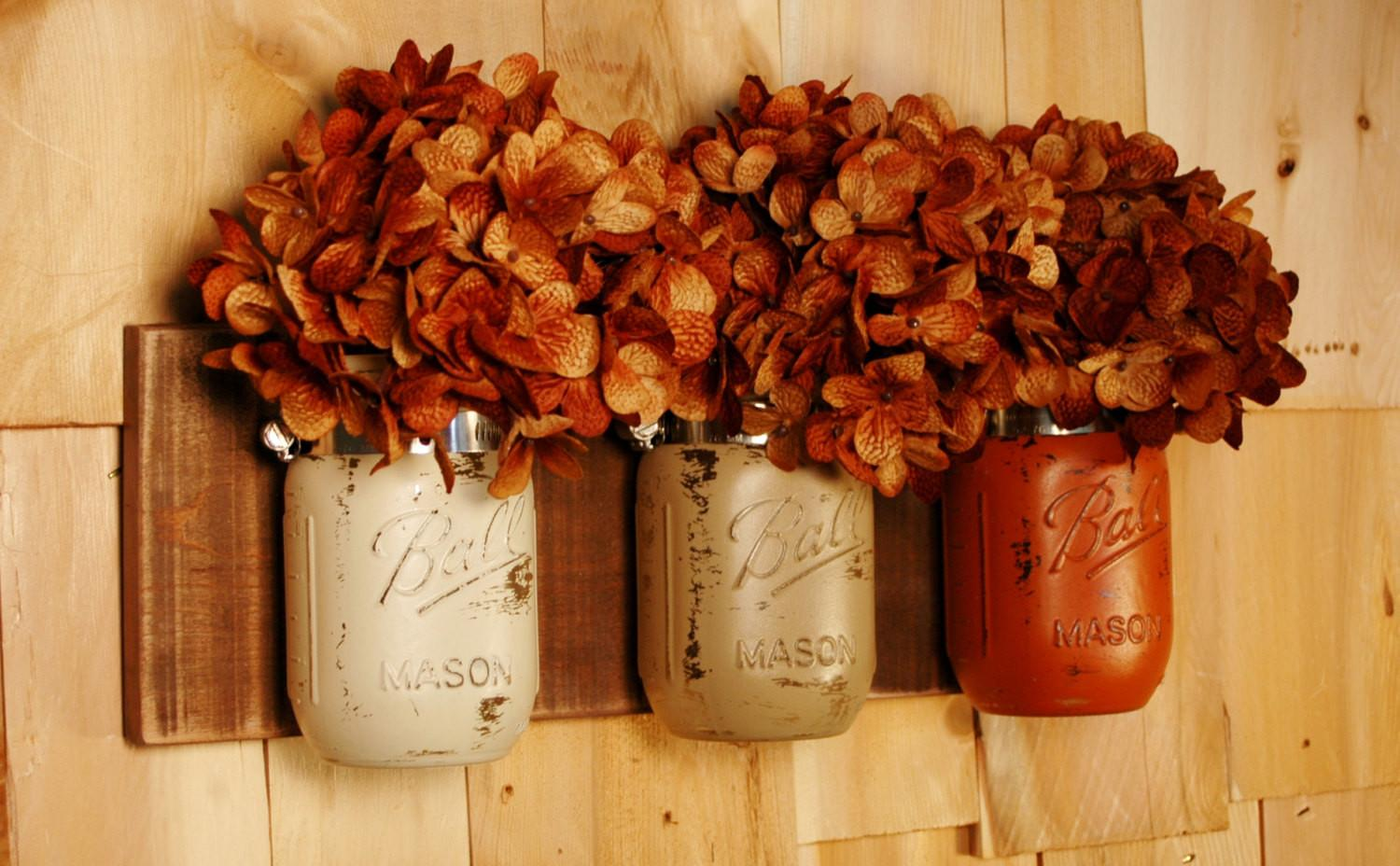 Fall Bounty Wall Decor Mason Jar Trio Dark Stained