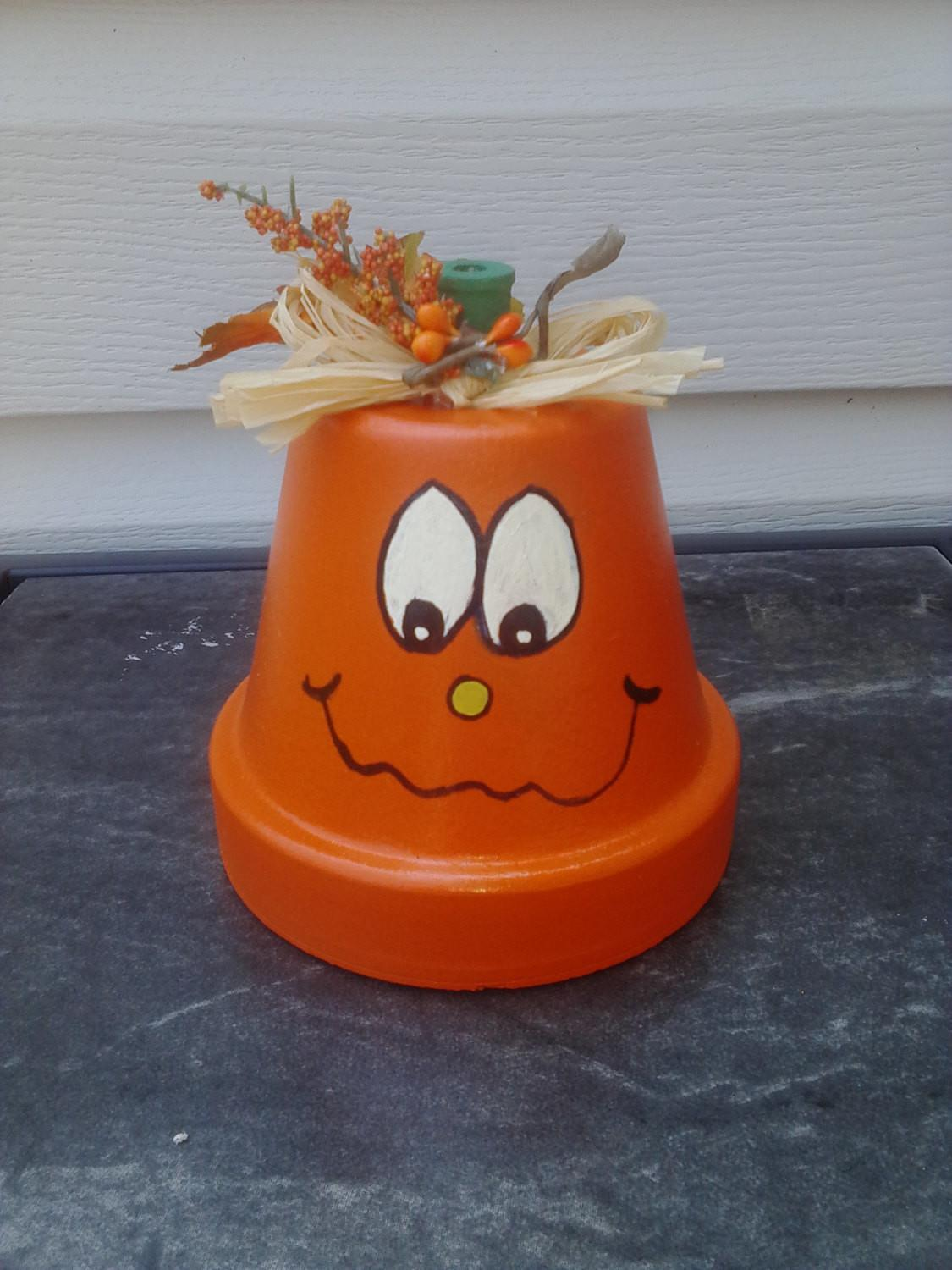 Fall Decor Halloween Painted Clay Pot