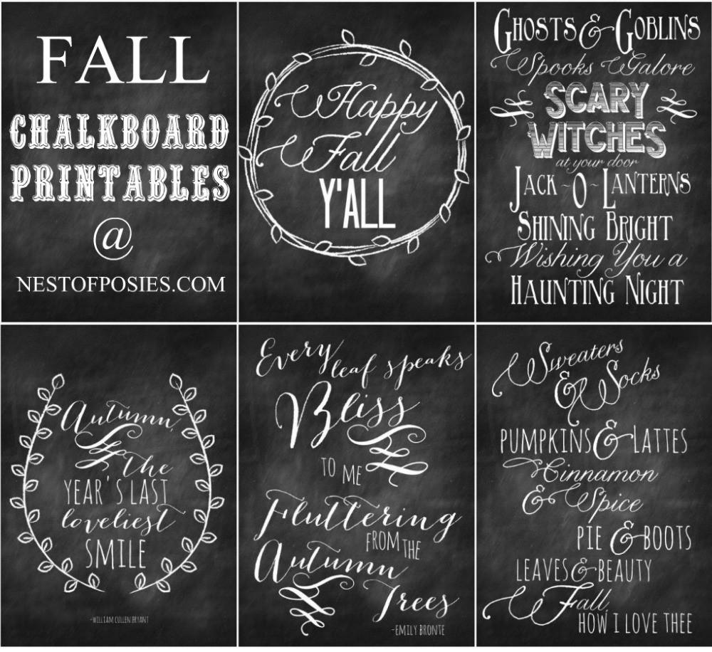 Fall Halloween Chalkboard Quote Printables